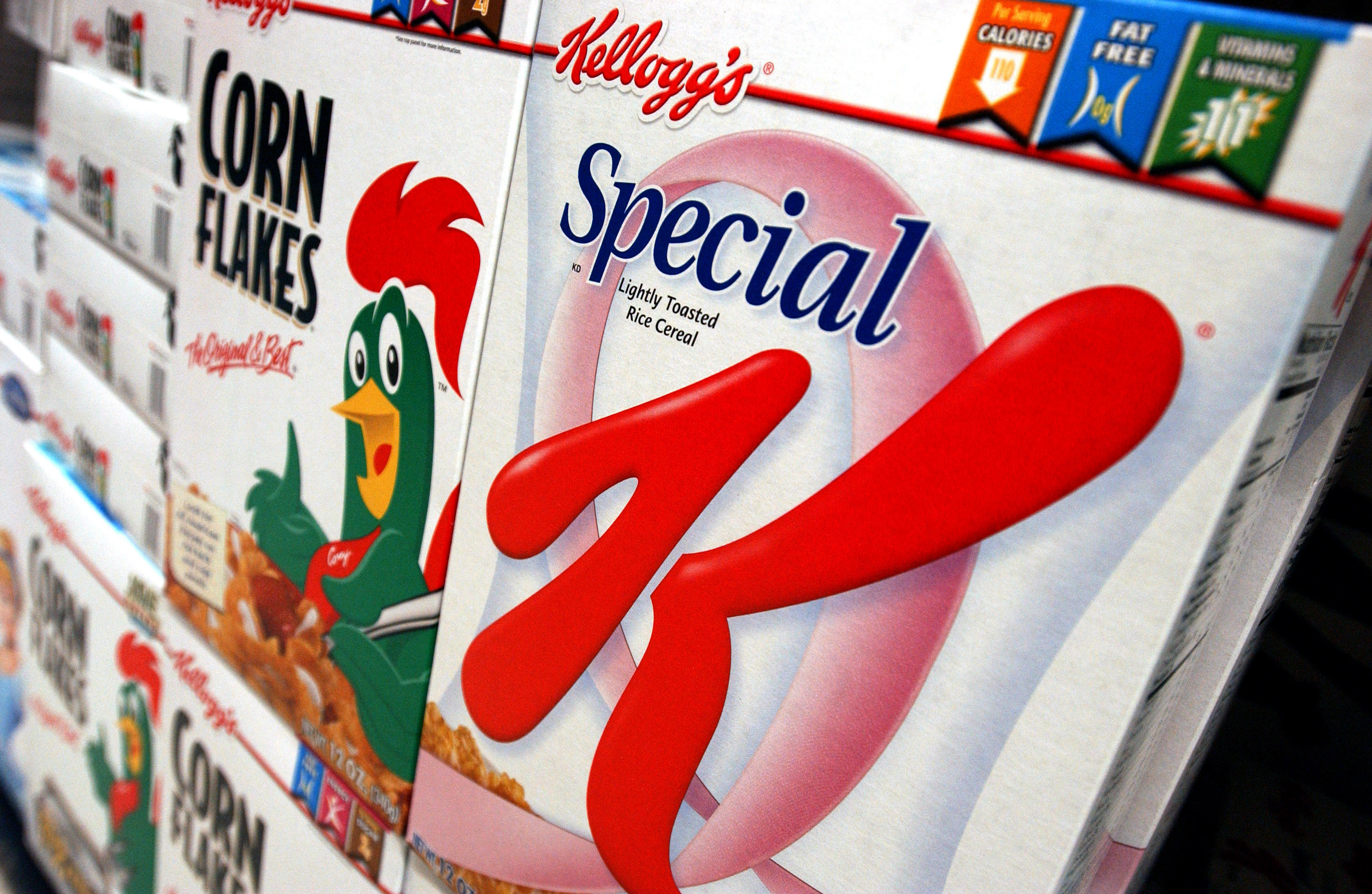 Kellogg's Corn Flakes and Special K cereal boxes are display