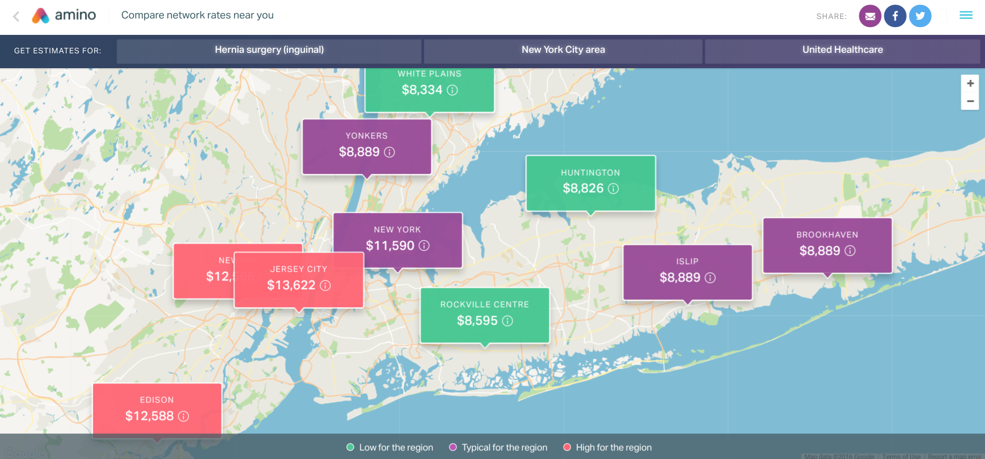 Amino's comparison tool tells you how much common procedures cost at different hospitals, incorporating elements like your specific health insurance.