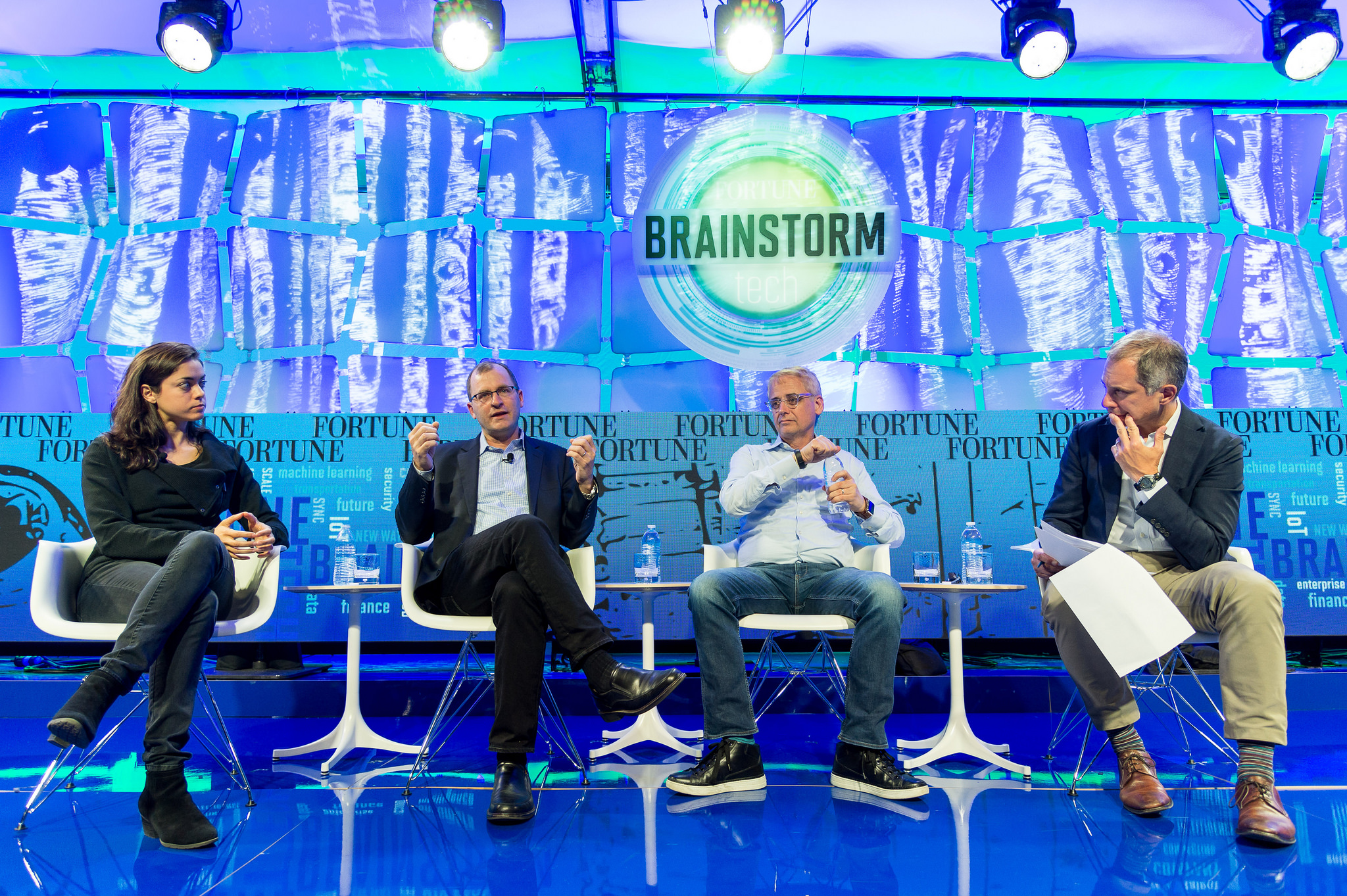 Shivon Zilis, partner, Bloomberg Beta; David Mindell, professor at MIT and co-founder and CEO, Humantics; David Kenny, general manager, IBM Watson; and moderator Adam Lashinsky, Fortune, at Brainstorm Tech 2016.