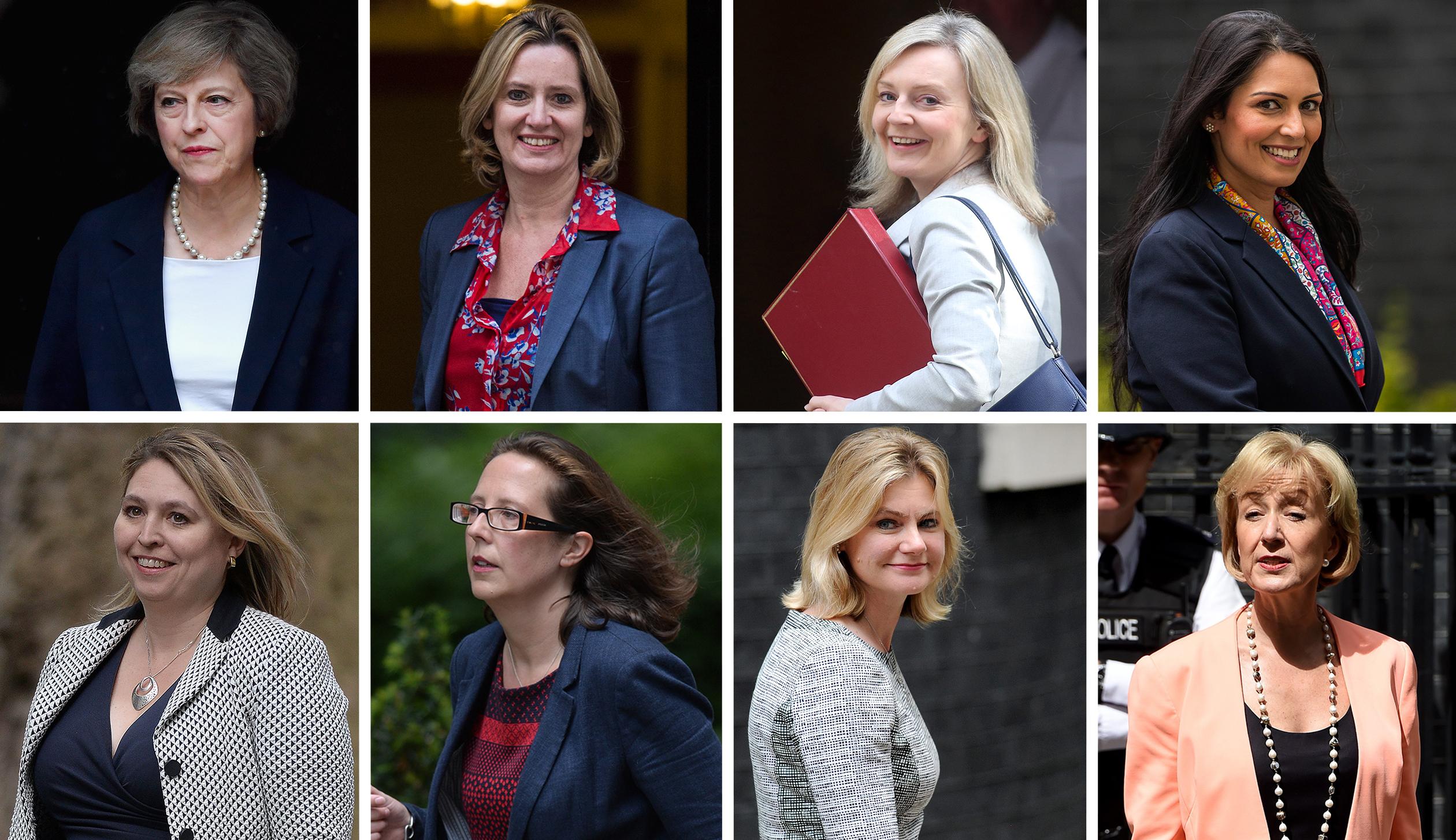 Theresa May, left, Amber Rudd, Liz Truss, Priti Patel, Karen Bradley, Natalie Evans, Justine Greening, and Andrea Leadsom.