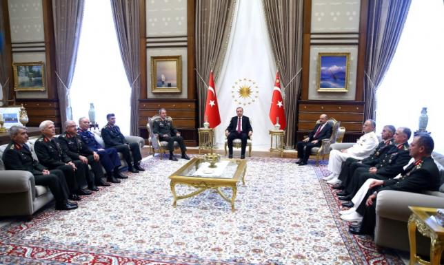 Turkey's President Erdogan meets members of High Military Council at the Presidential Palace in Ankara