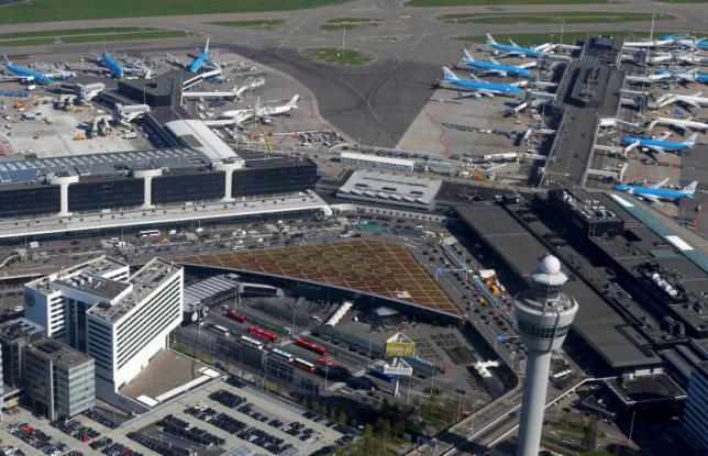 Aerial view of Schiphol airport near Amsterdam