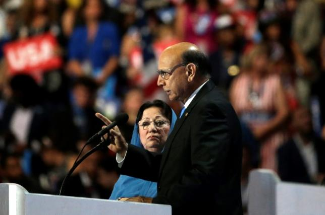 Khan, who's son Humayun was killed serving in the U.S. Army ten years after September 11, 2001, speaks at the Democratic National Convention in Philadelphia