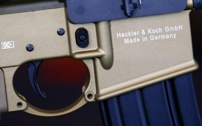 A HK417 assault rifle manufactured by Heckler & Koch is pictured at the arms factory in Oberndorf