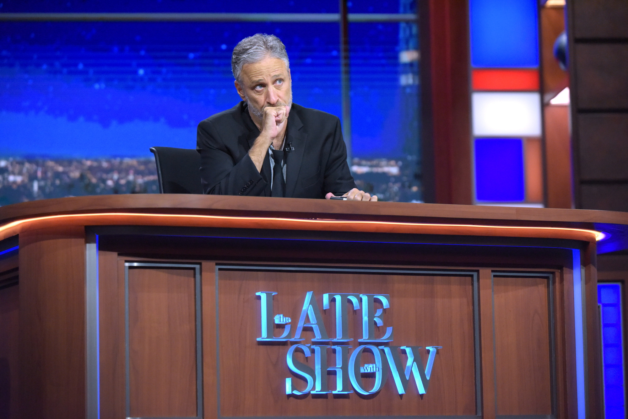 The Late Show with Stephen Colbert airing live, Thursday July 21, 2016 in New York. With guest John Stewart.  Photo: Scott Kowalchyk/CBS ©2016CBS Broadcasting Inc. All Rights Reserved.