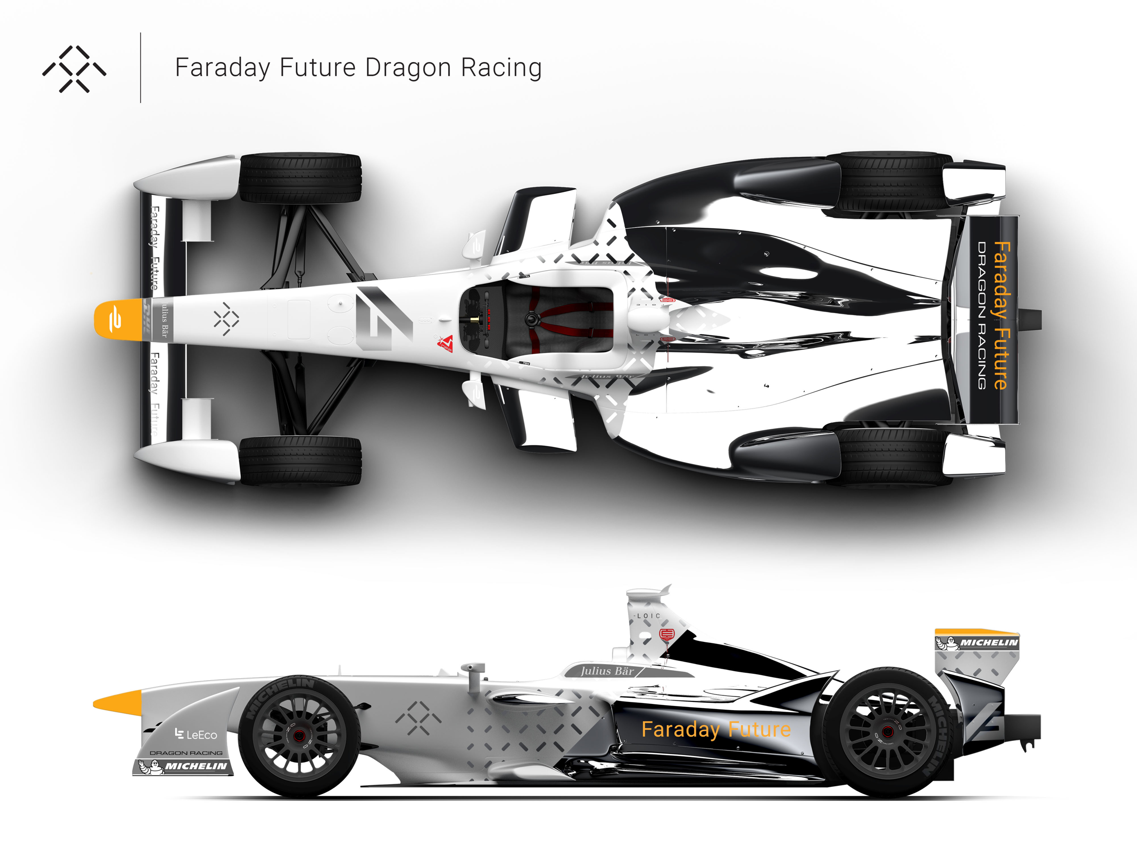 Faraday Future and Dragon Racing show off a concept for their Formula E all-electric race car.