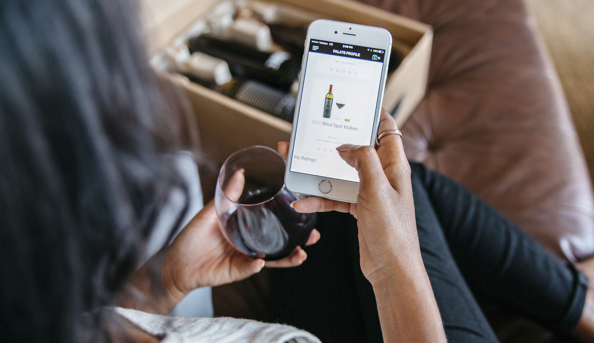 The Winc app, an online wine club, in use by a member.