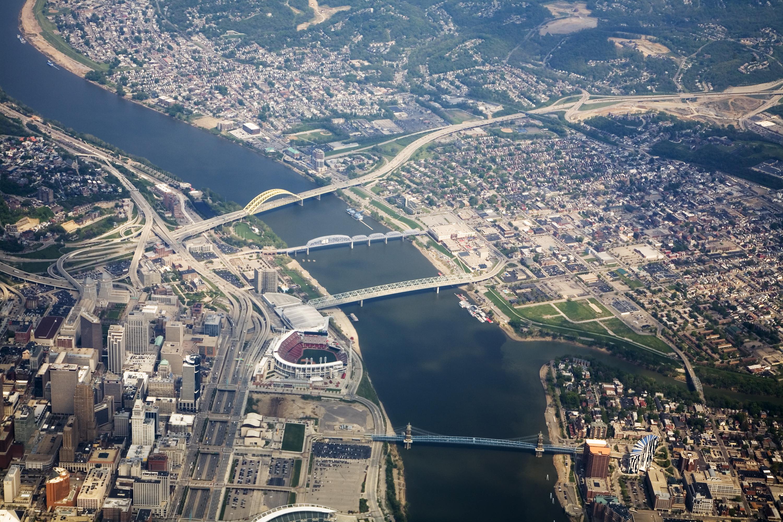 Cincinnati Bridges over Ohio River, with Stadium