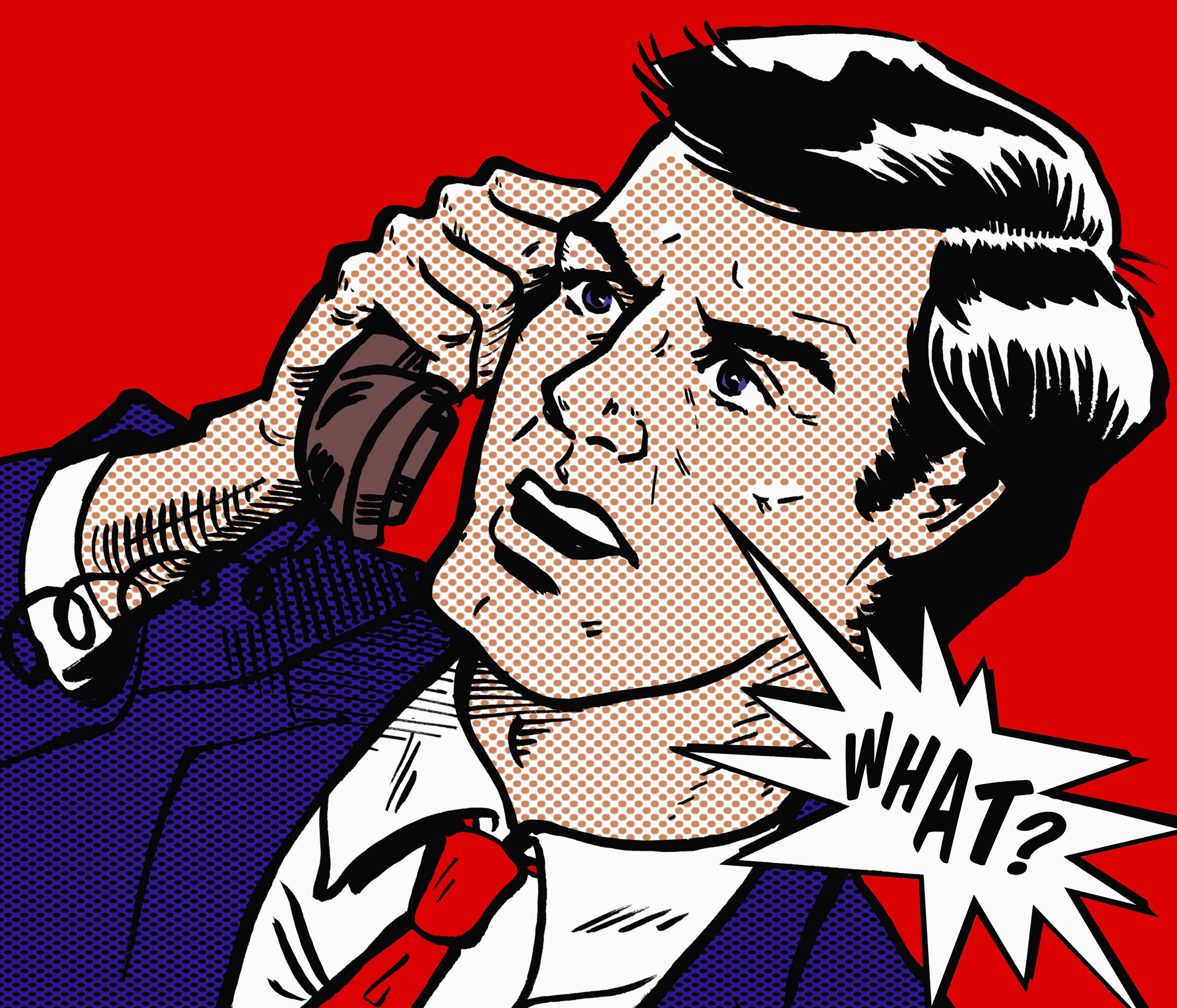Close up of angry businessman in disbelief on the telephone