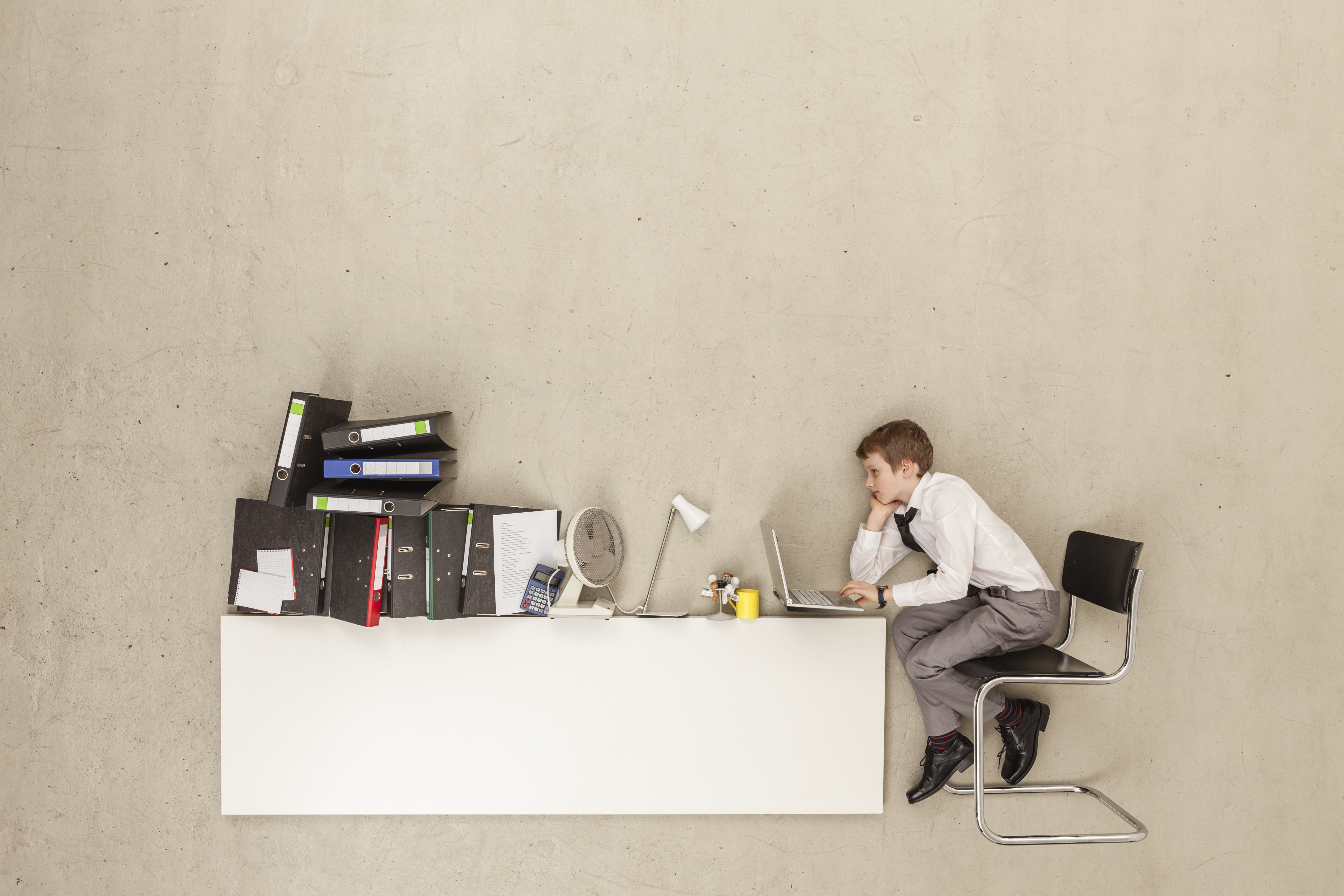 Business boy using laptop