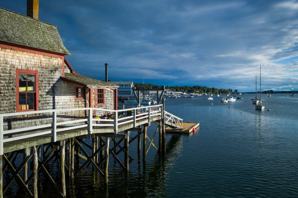 Harbor pedestrian bridge, Boothbay Harbor, Maine, USA