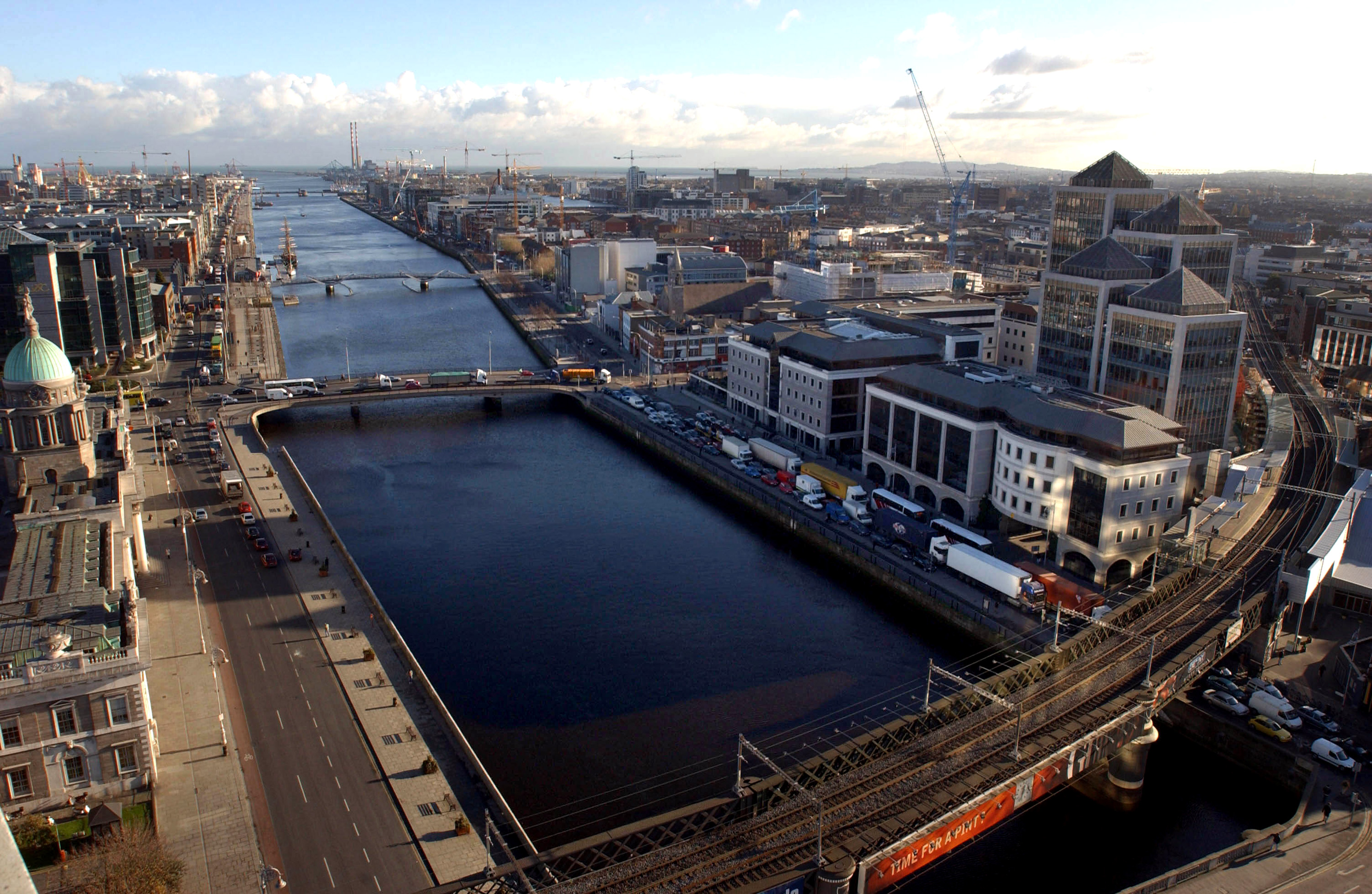 The city centre and the River Liffey is viewed across Dublin