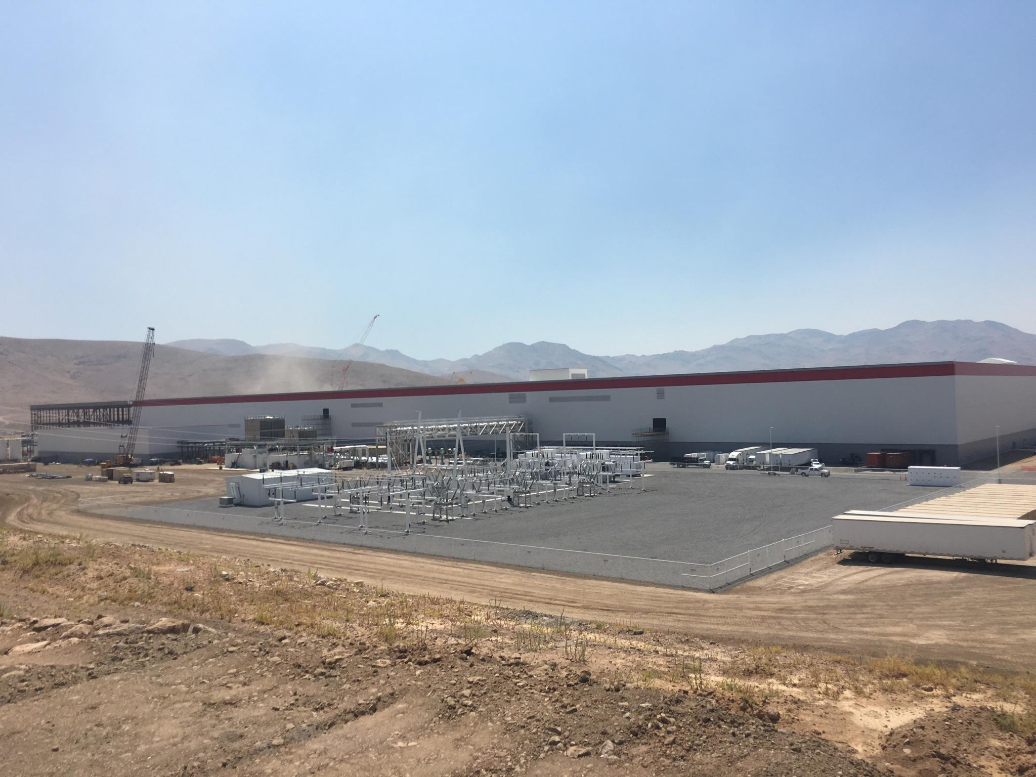 Eastern wall of Tesla's factory.