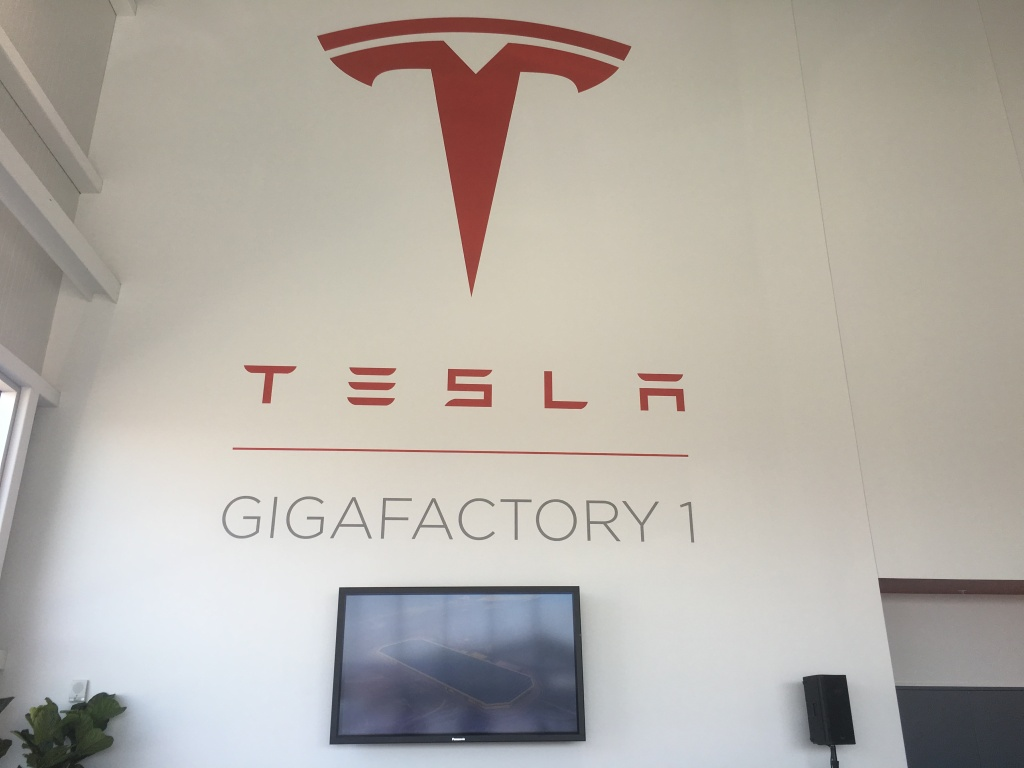 The lobby of Tesla's Gigafactory.