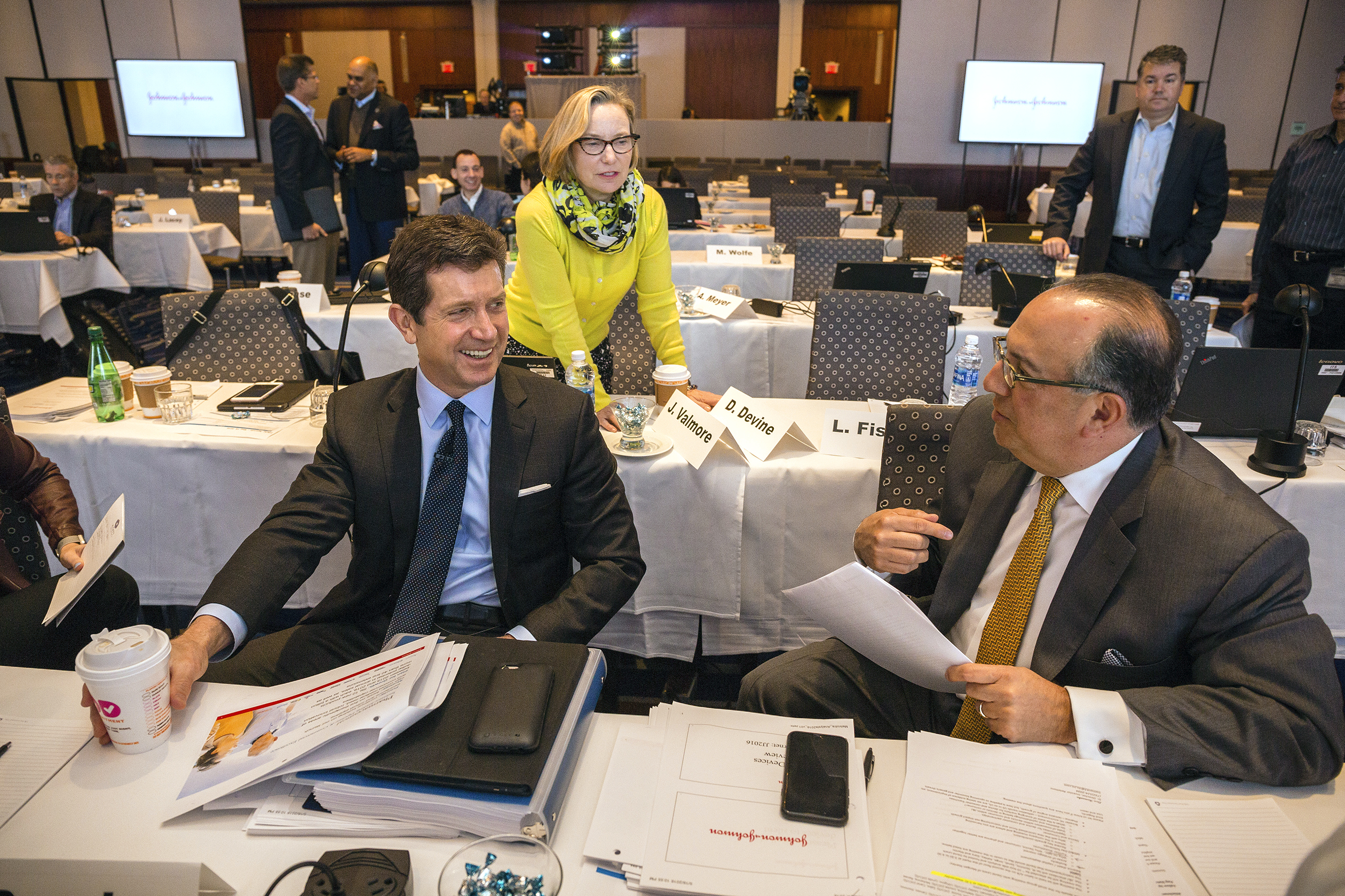 The day before senior leaders from the Johnson & Johnson are to present to the investment community, strategies for growth in the Consumer and Medical Device segments, Chairman and CEO Alex Gorsky practiced his presentation in front of his senior staff and advisors, in the main ballroom of the Hyatt Hotel in New Brunswick, NJ, Tuesday 17 May 2016.In many photos, wearing a yellow jacket is Sandra (Sandi) E. Peterson, Executive Vice President, Group Worldwide Chairman for Johnson and Johnson and Dominic Caruso, Chief Financial Officer.Credit: Timothy Fadek / Redux Pictures