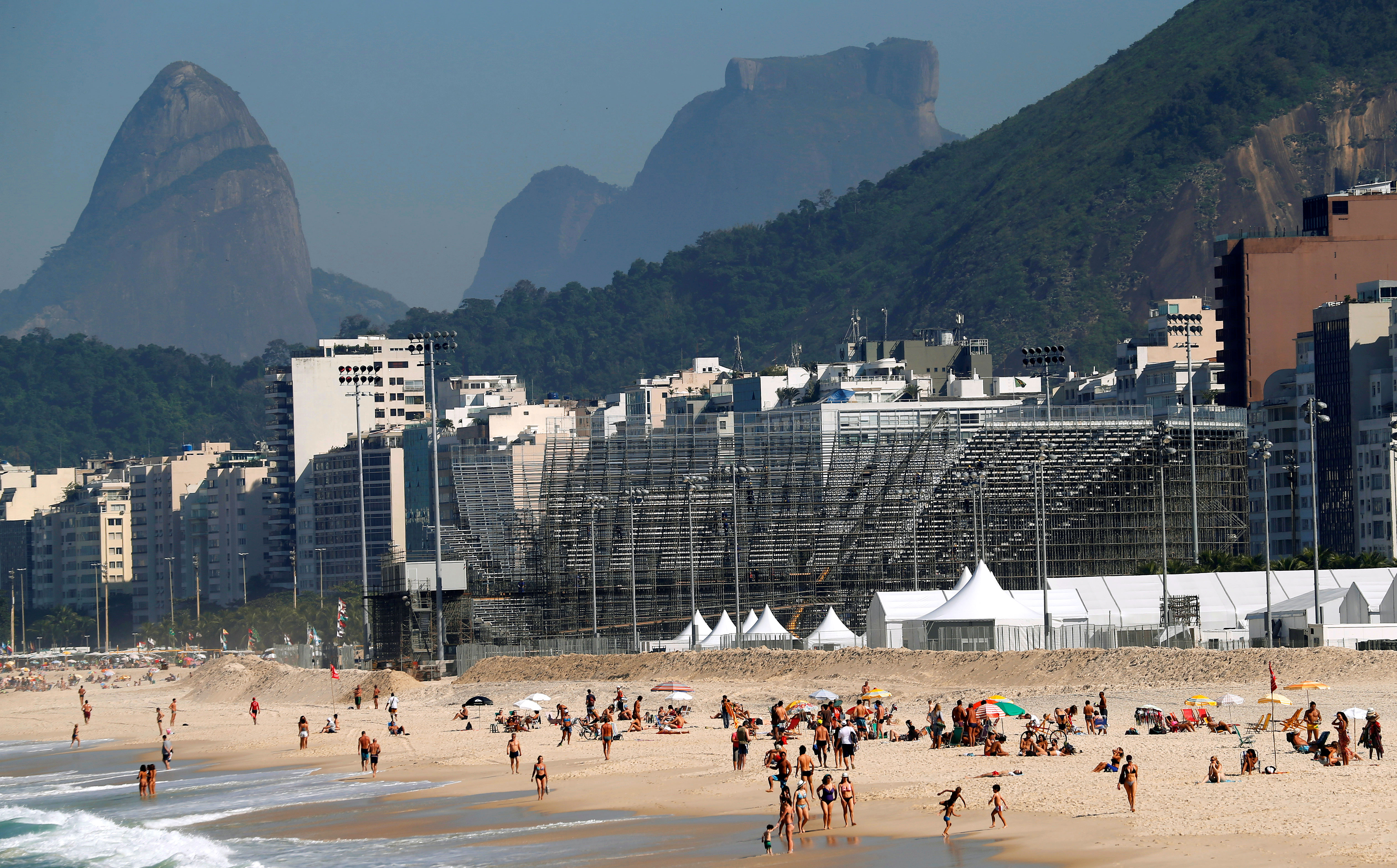 A view of the construction site of the beach volleyball venue for 2016 Rio Olympics on Copacabana beach in Rio de Janeiro