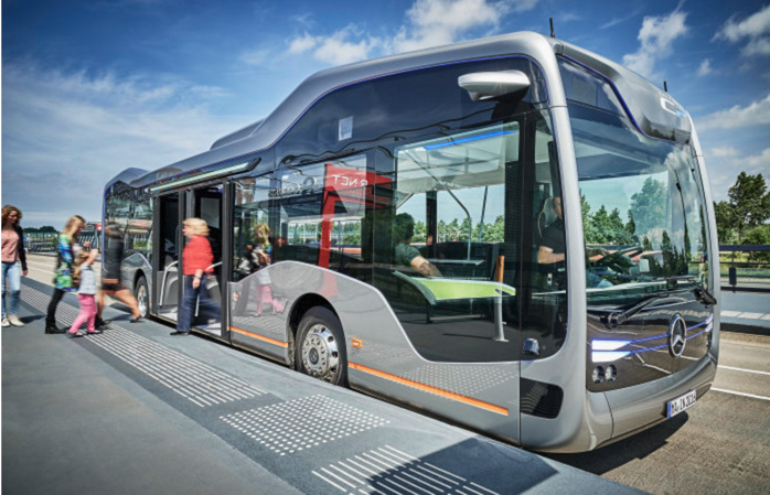 Daimler debuted on Monday, July, 18, 2016, its Mercedes-Benz Future Bus with CityPilot, semi-automated city bus that can recognize traffic lights, obstacles and pedestrians.