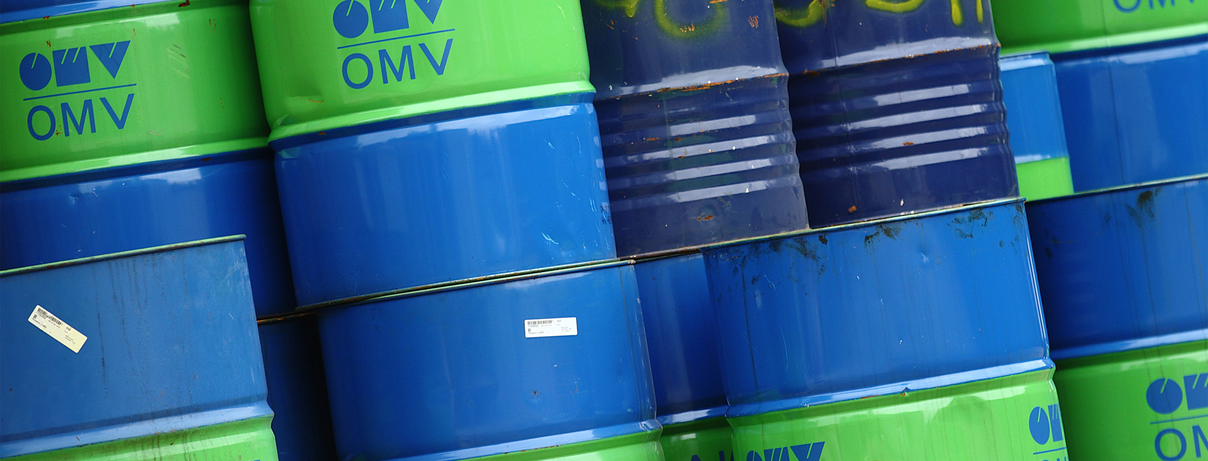 Barrels are pictured at the refinery of Austrian oil and gas group OMV in Schwechat