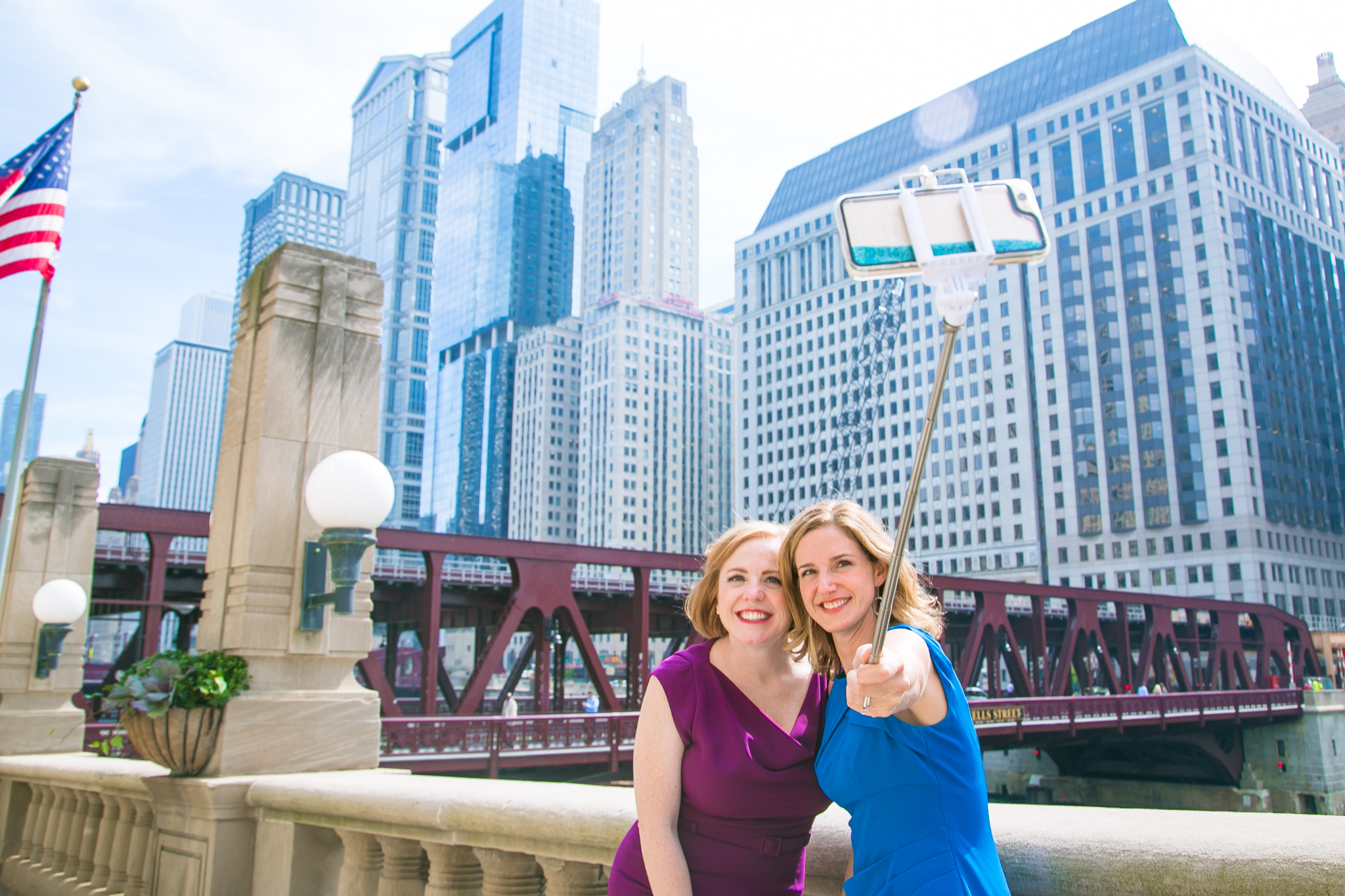 Pay Your Selfie co-founders Michelle Smyth (holding the selfie stick) and Kristen Holman
