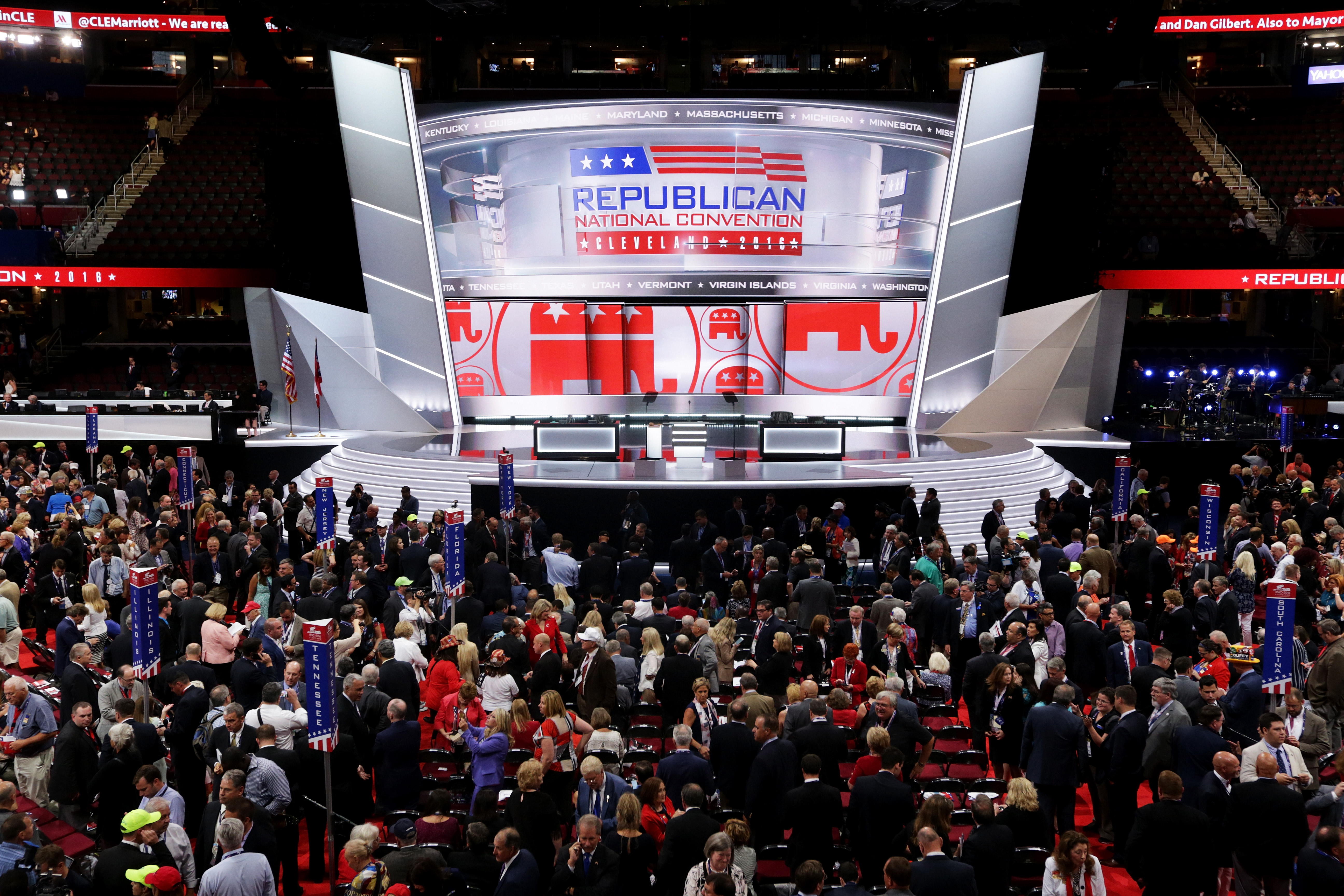 CLEVELAND, OH - JULY 18:  The stage is left empty after Republican National Committee Chairman Reince Priebus left the stage during protests on the floor on the first day of the Republican National Convention on July 18, 2016 at the Quicken Loans Arena in Cleveland, Ohio. An estimated 50,000 people are expected in Cleveland, including hundreds of protesters and members of the media. The four-day Republican National Convention kicks off on July 18.