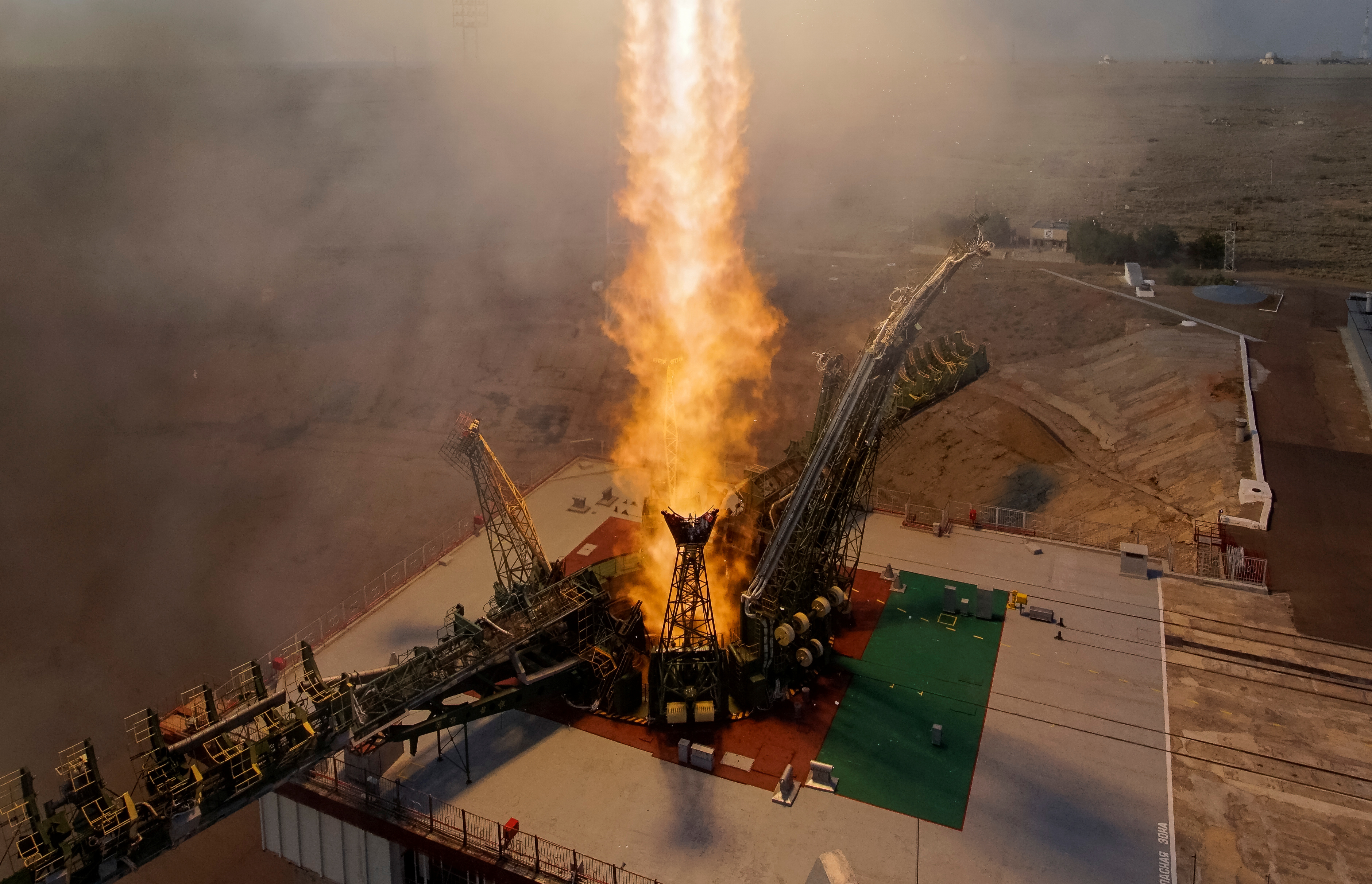 The Soyuz MS spacecraft carrying the crew of Kate Rubins of the U.S., Anatoly Ivanishin of Russia and Takuya Onishi of Japan blasts off to the International Space Station (ISS) from the launchpad at the Baikonur cosmodrome, Kazakhstan