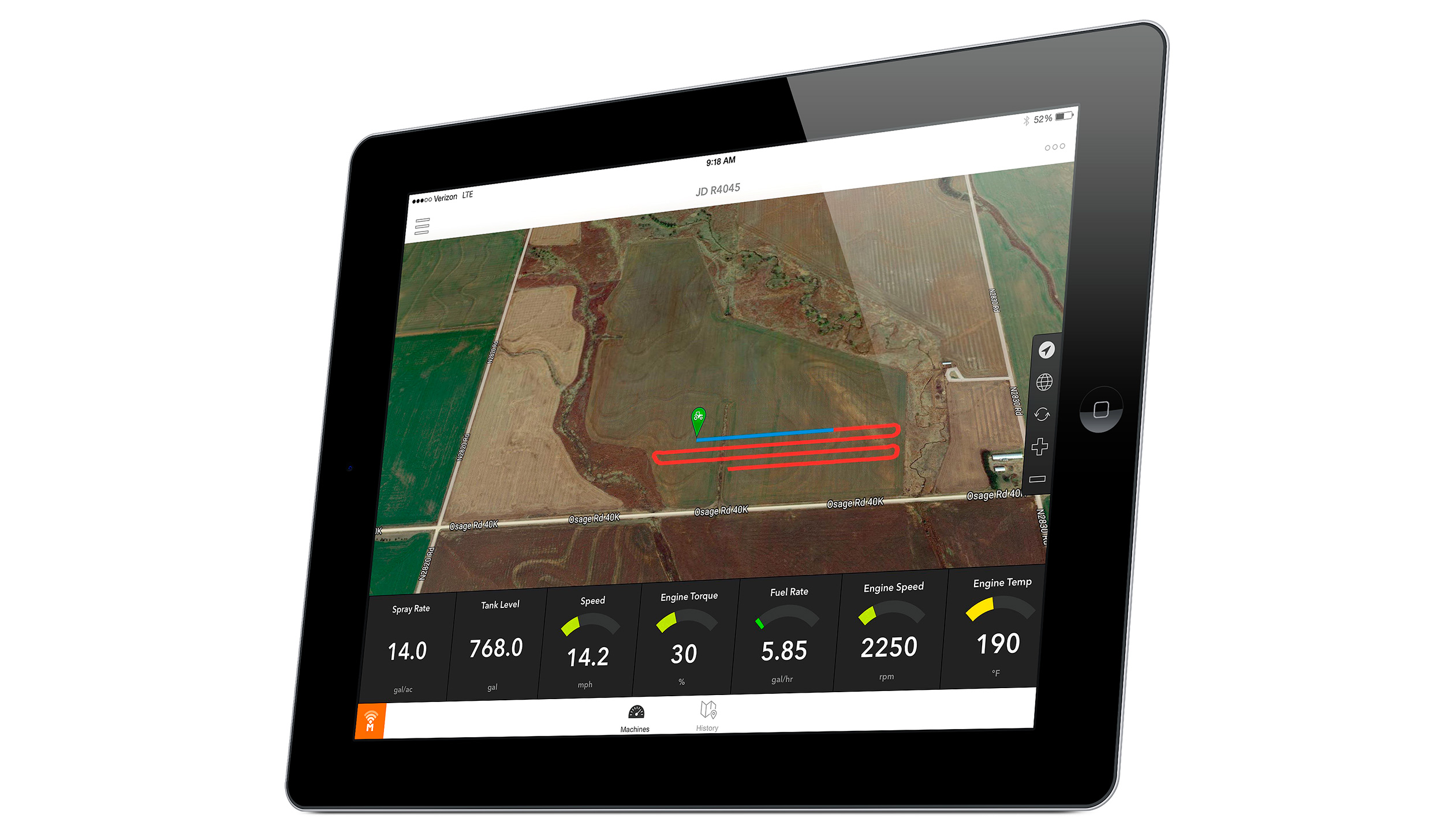 Farmobile's app displays in real time the path of a tractor, combine, or other machine, along with agronomic data such as planting date, crop yield, and moisture, as well as engine information.