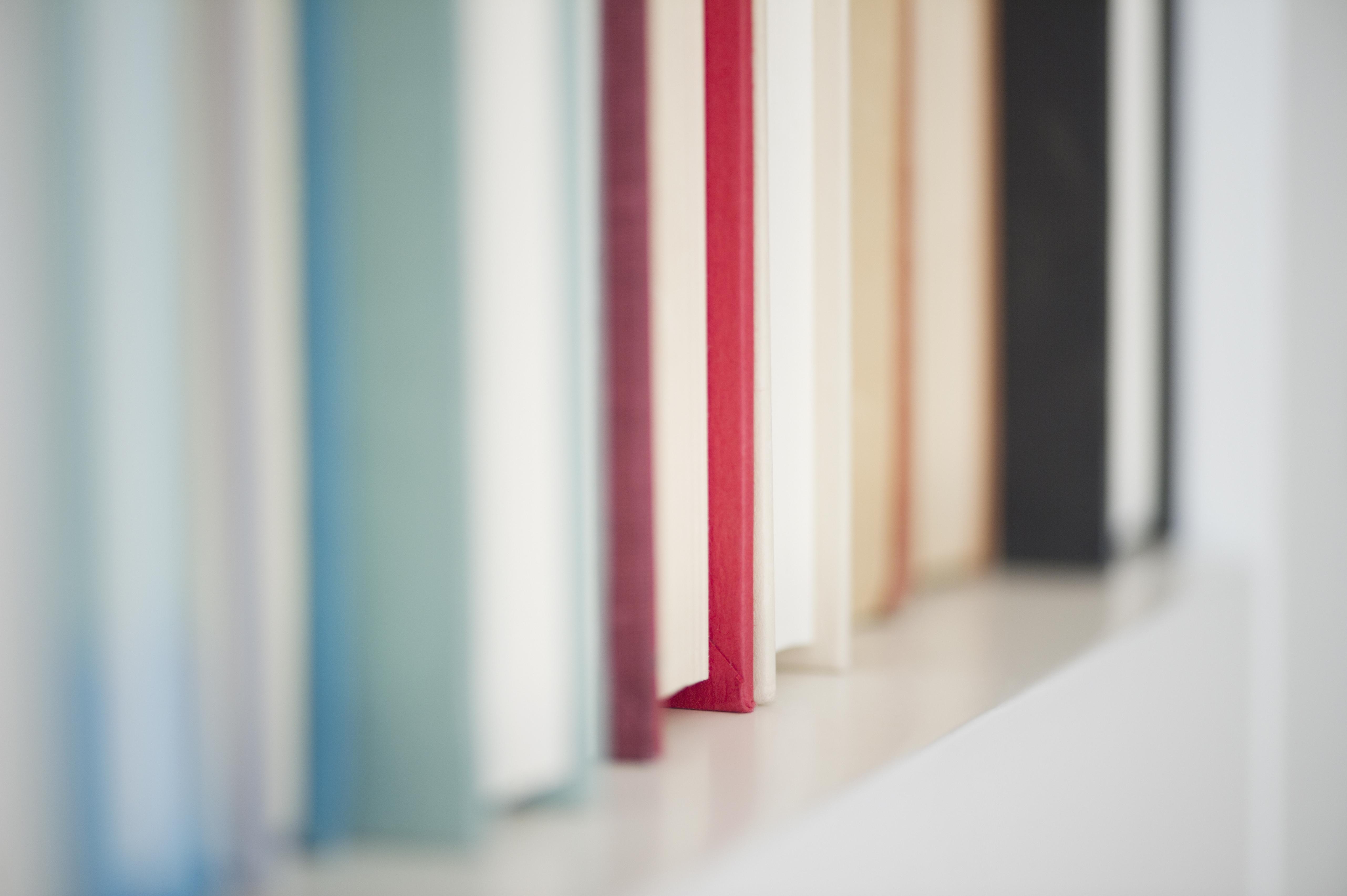 USA, New Jersey, Jersey City, Books on shelf