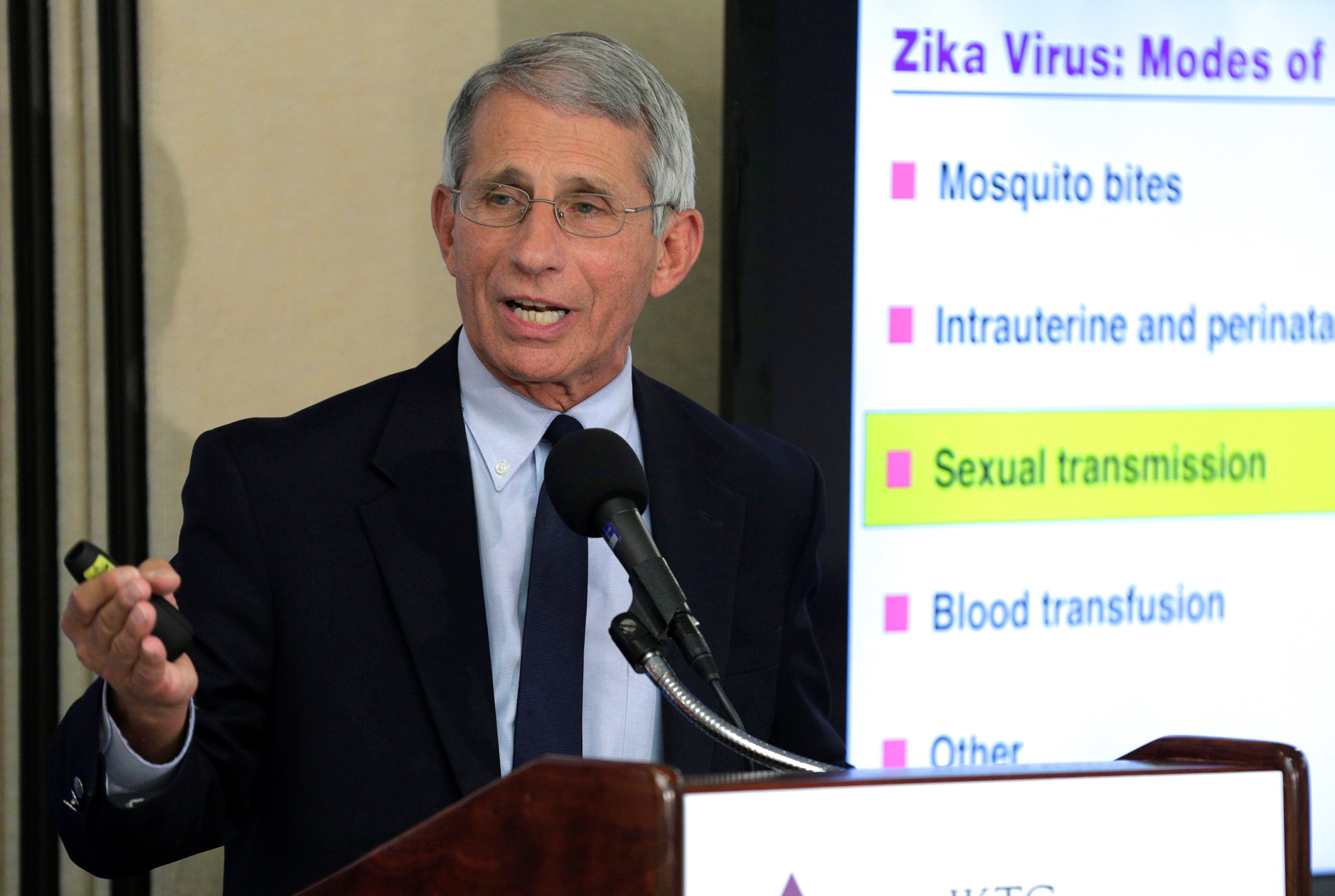 Dr. Anthony Fauci, director of the National Institute of Allergy and Infectious Diseases at the National Institutes of Health speaks to the media about the Zika virus in Washington
