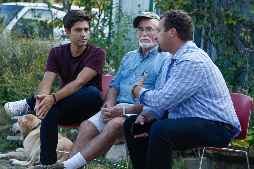 From left: Actor Adrian Grenier with Fred Dabney, owner of Quansett Nurseries, and Chris Rezendes, founder of IoT Impact Labs.