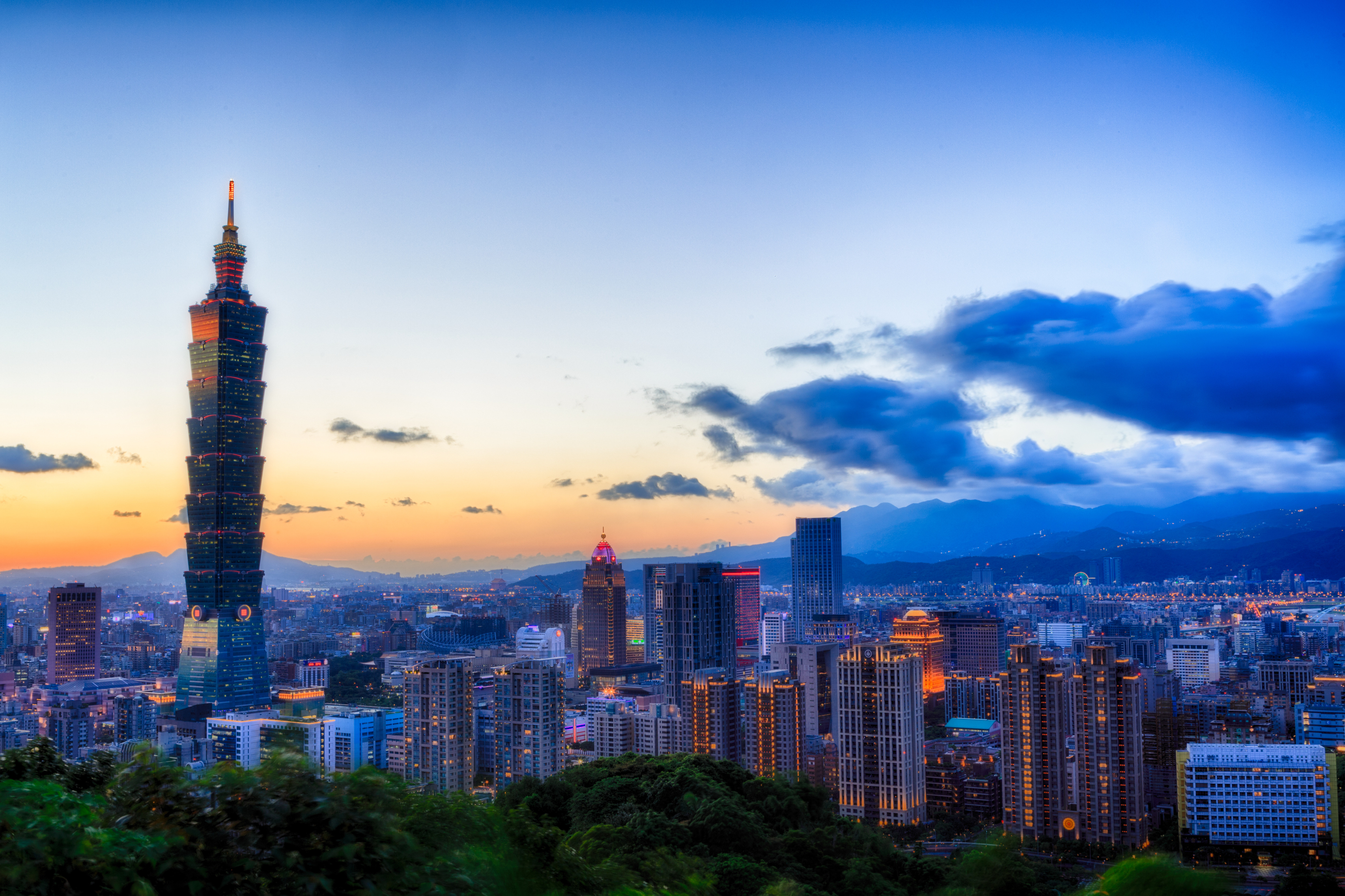 The Taipei city skyline at sunset the day before a typhoon