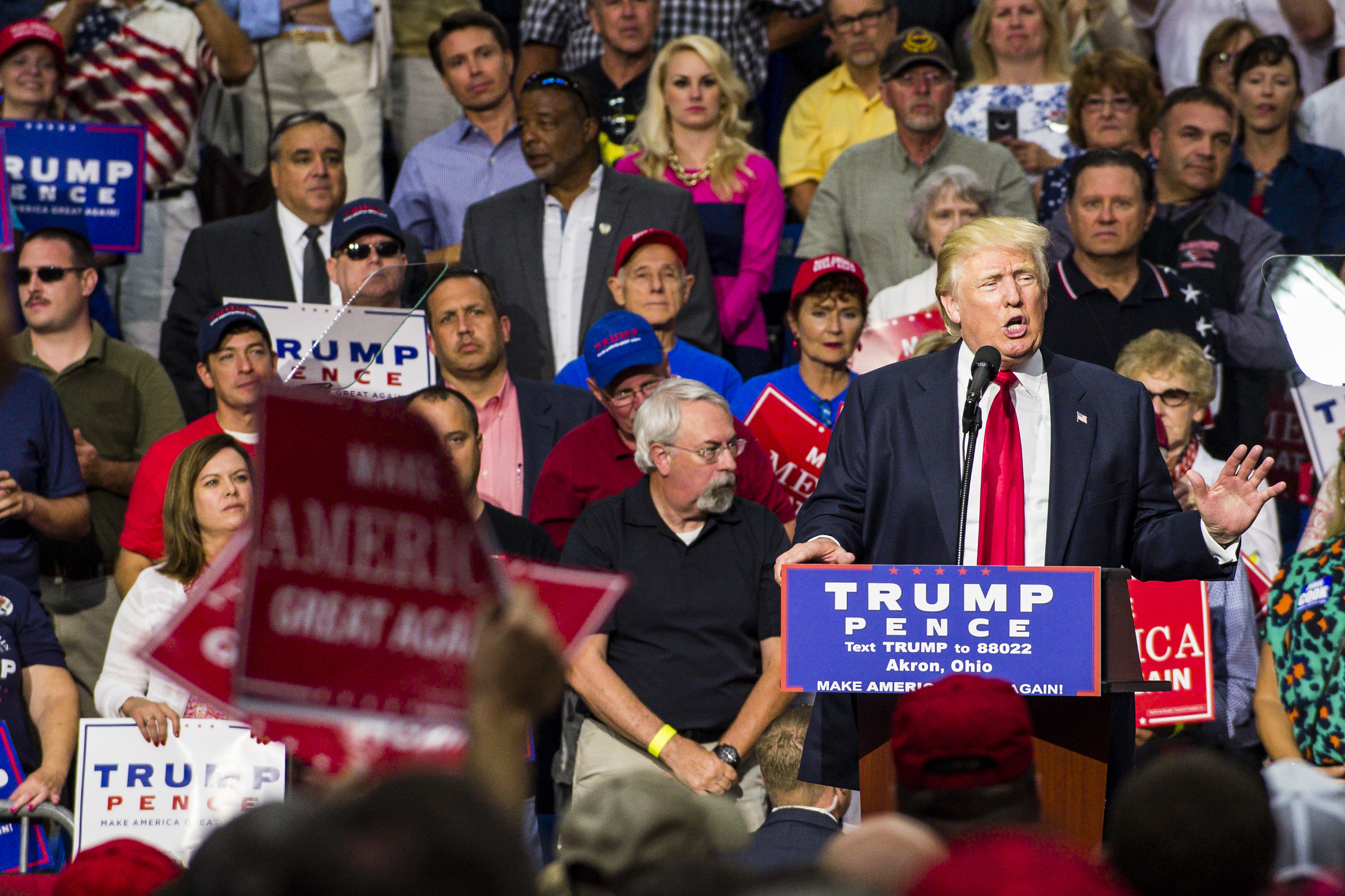 GOP Presidential Nominee Donald Trump Campaigns In Akron, Ohio