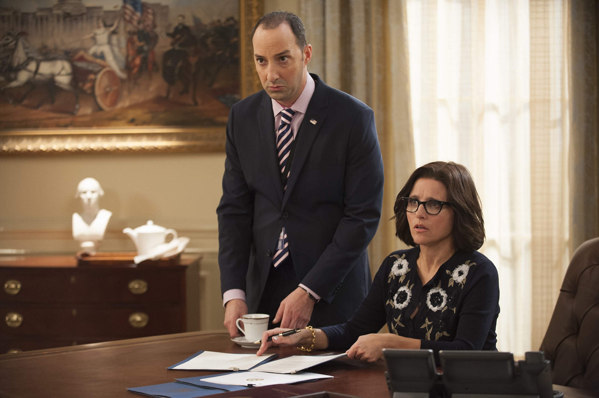 "Tony Hale as Gary Walsh and Julia Louis-Dreyfus as Selena Meyers in HBO's ""Veep."""