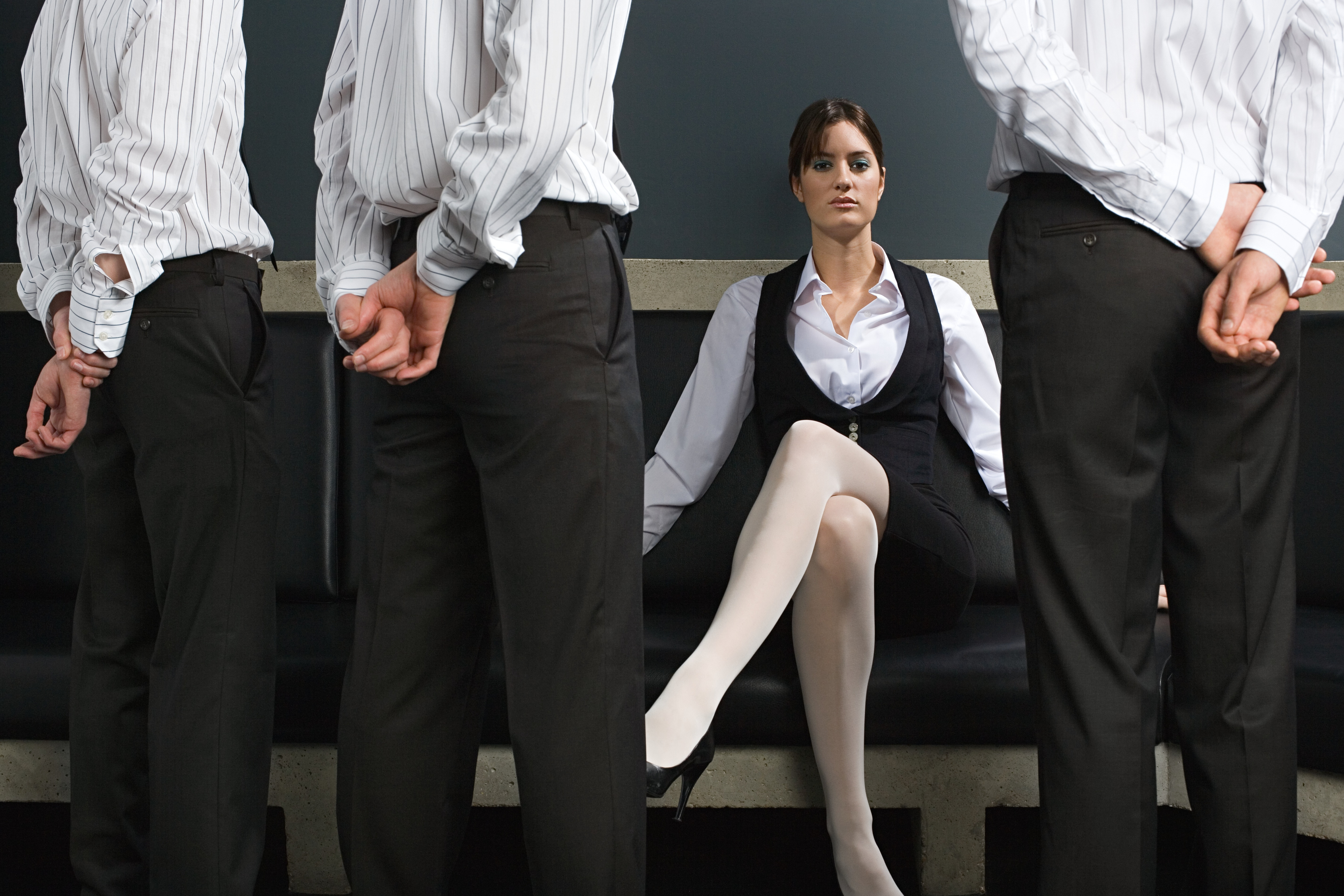 Woman and male employees