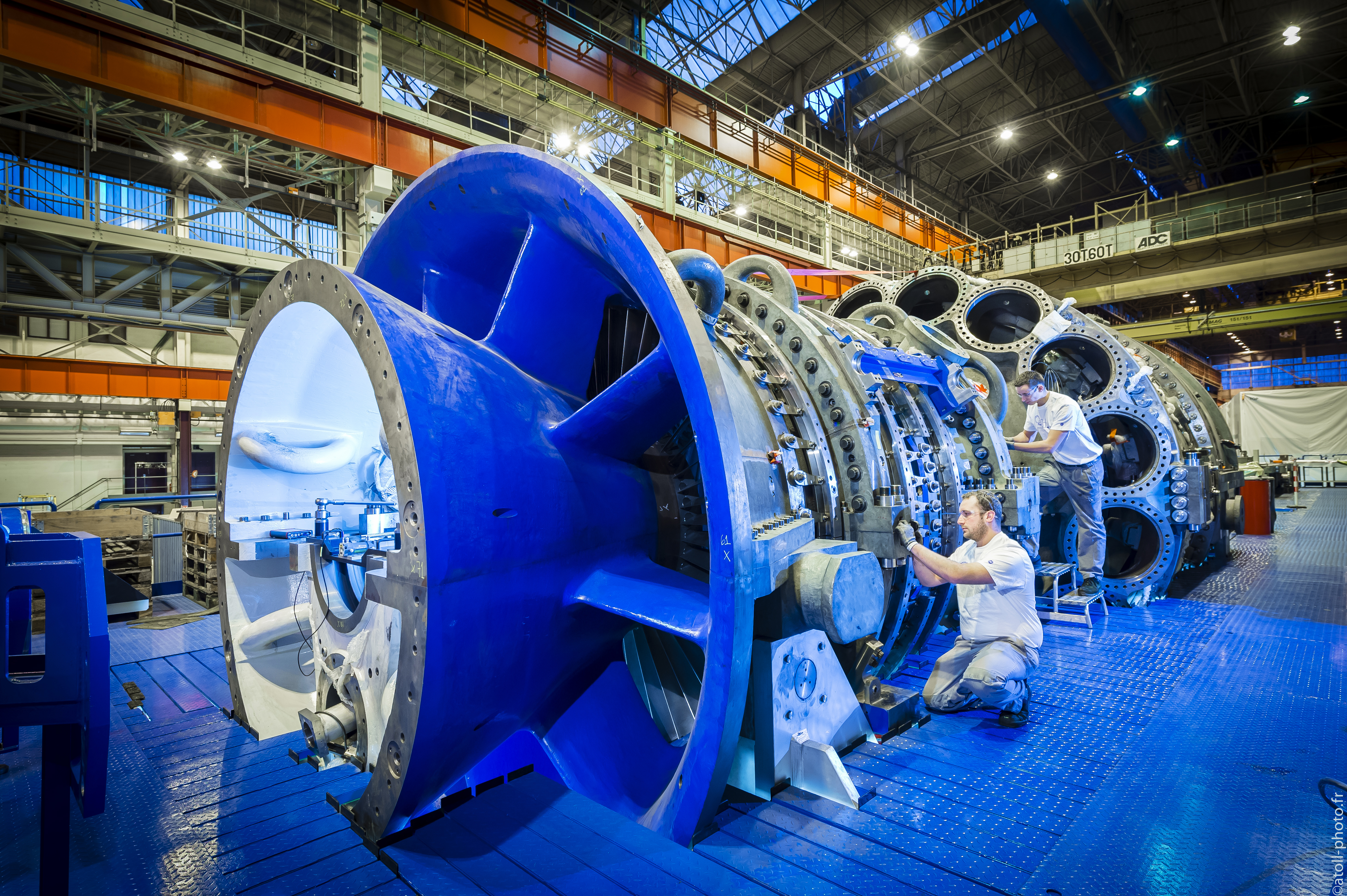 Gas Turbine in GE's Manufacturing Facility in Belfort, France.