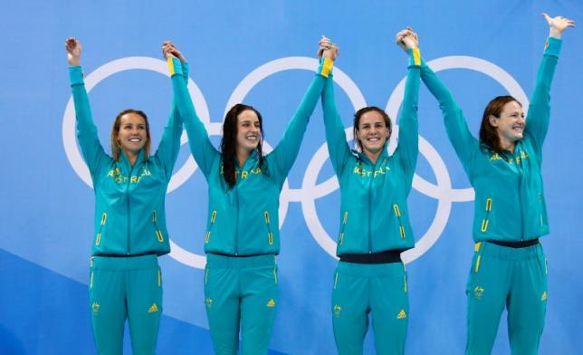 Swimming - Women's 4 x 100m Freestyle Relay Victory Ceremony