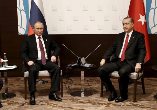 Turkey's President Erdogan meets with his Russian counterpart Putin  at the Group of 20 (G20) leaders summit in the Mediterranean resort city of Antalya, Turkey