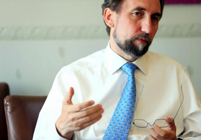 United Nations High Commissioner for Human Rights Zeid Ra'ad Al Hussein gestures during an interview with Reuters in Geneva