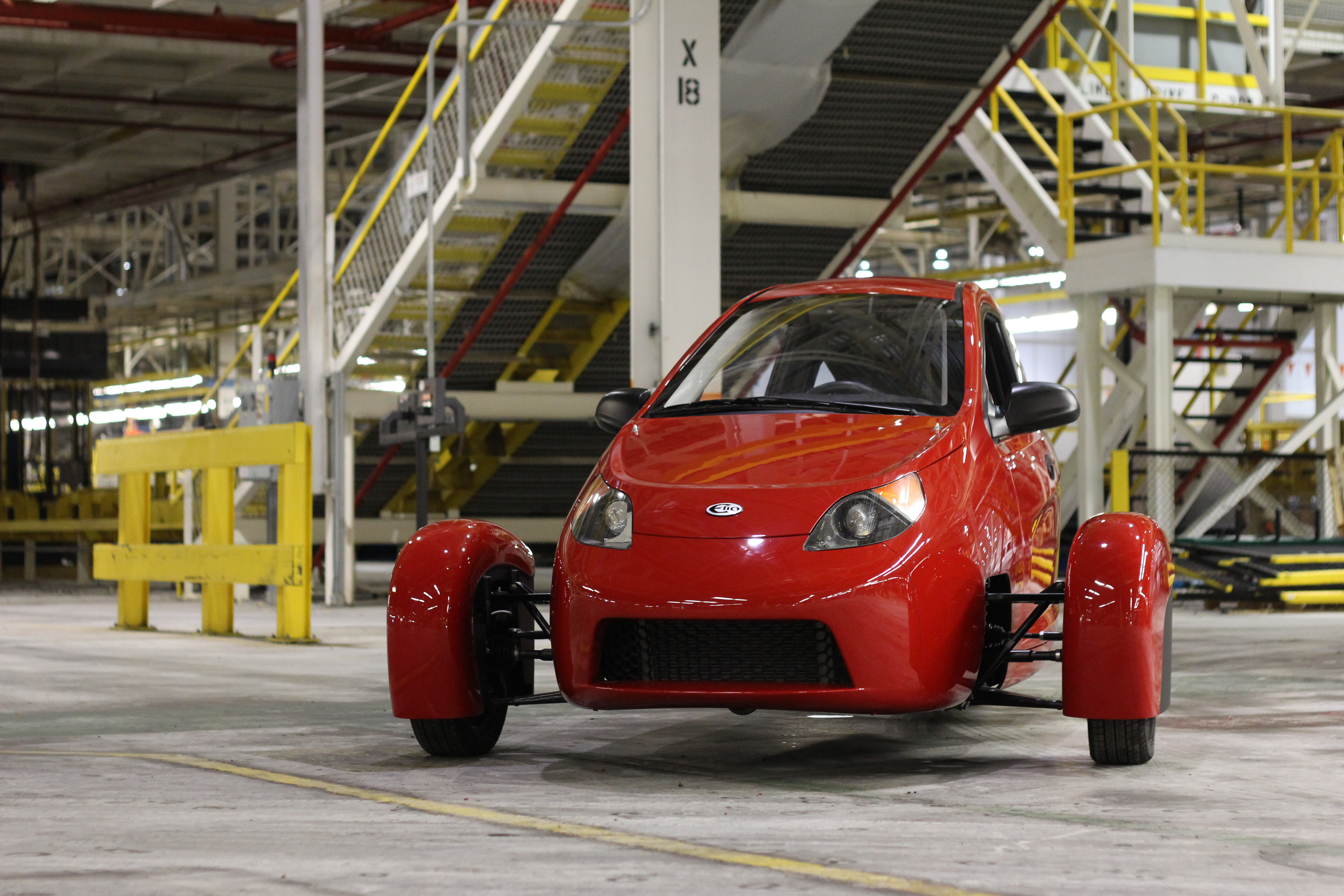 A pre-production version of the Elio vehicle.