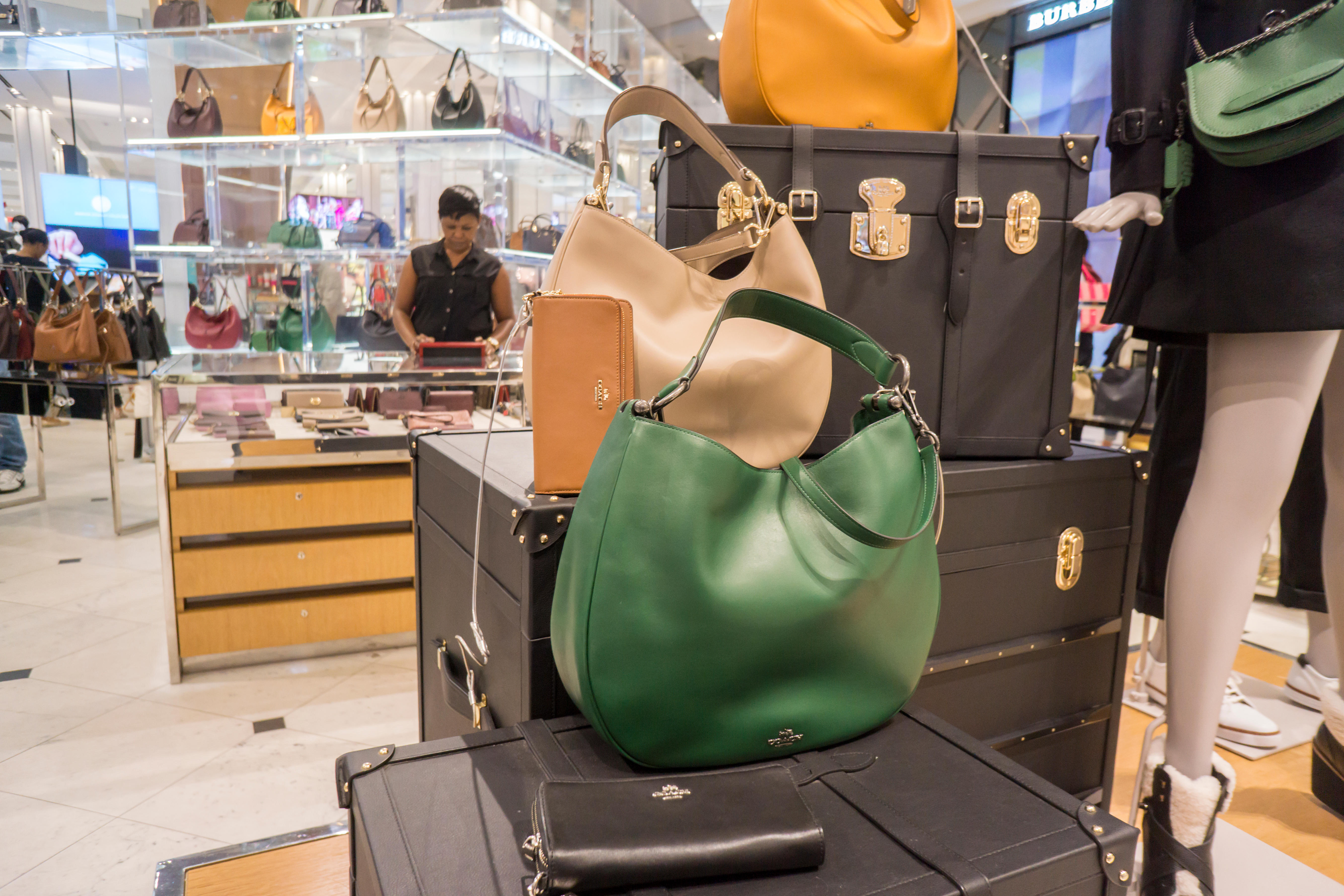 Handbags and accessories on display at the Coach boutique within Macy's in New York on Sunday, September 27, 2015. (© Richard B. Levine)
