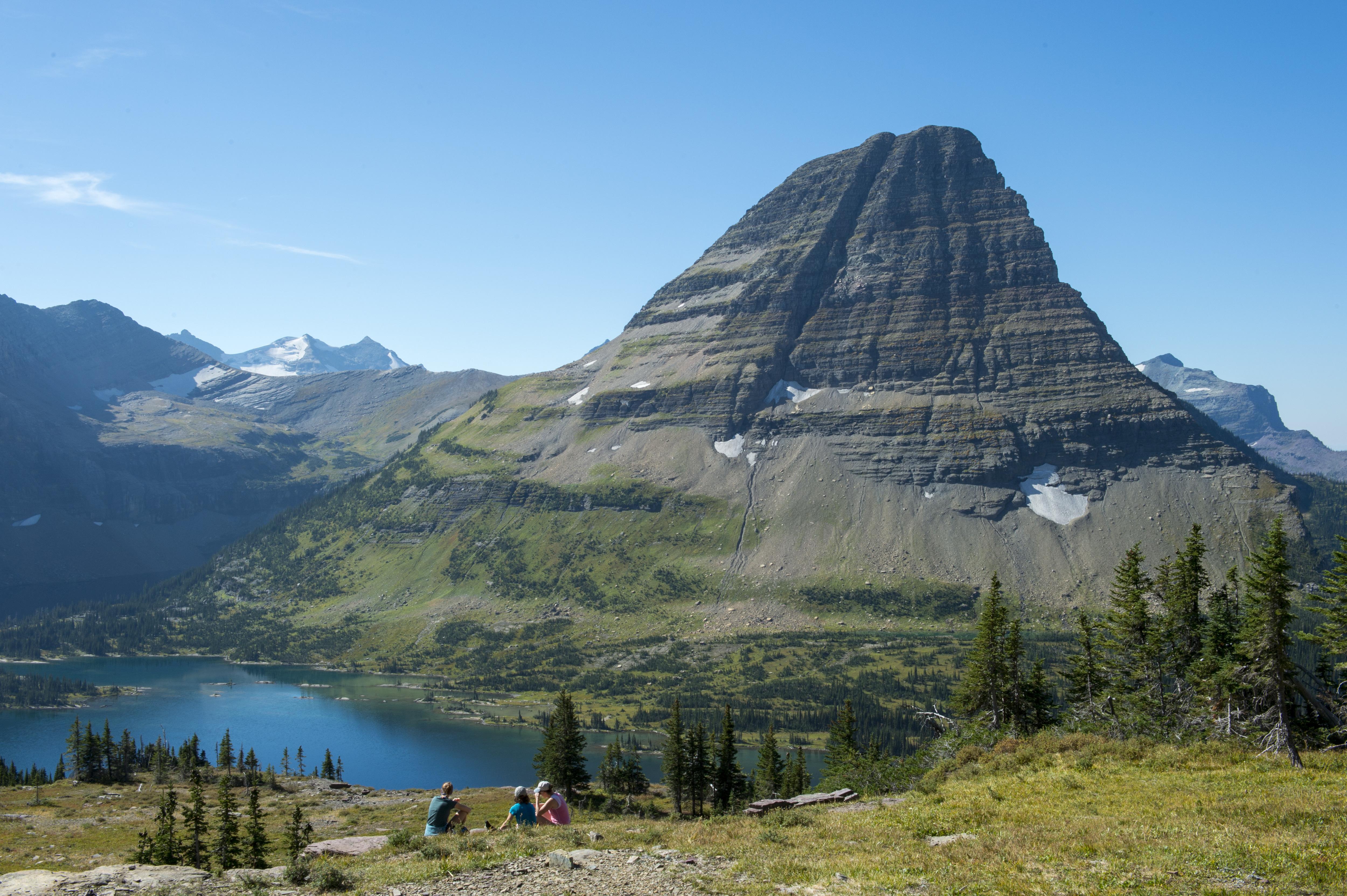 View of Bearhat Mountain above Hidden Lake at Logan Pass in