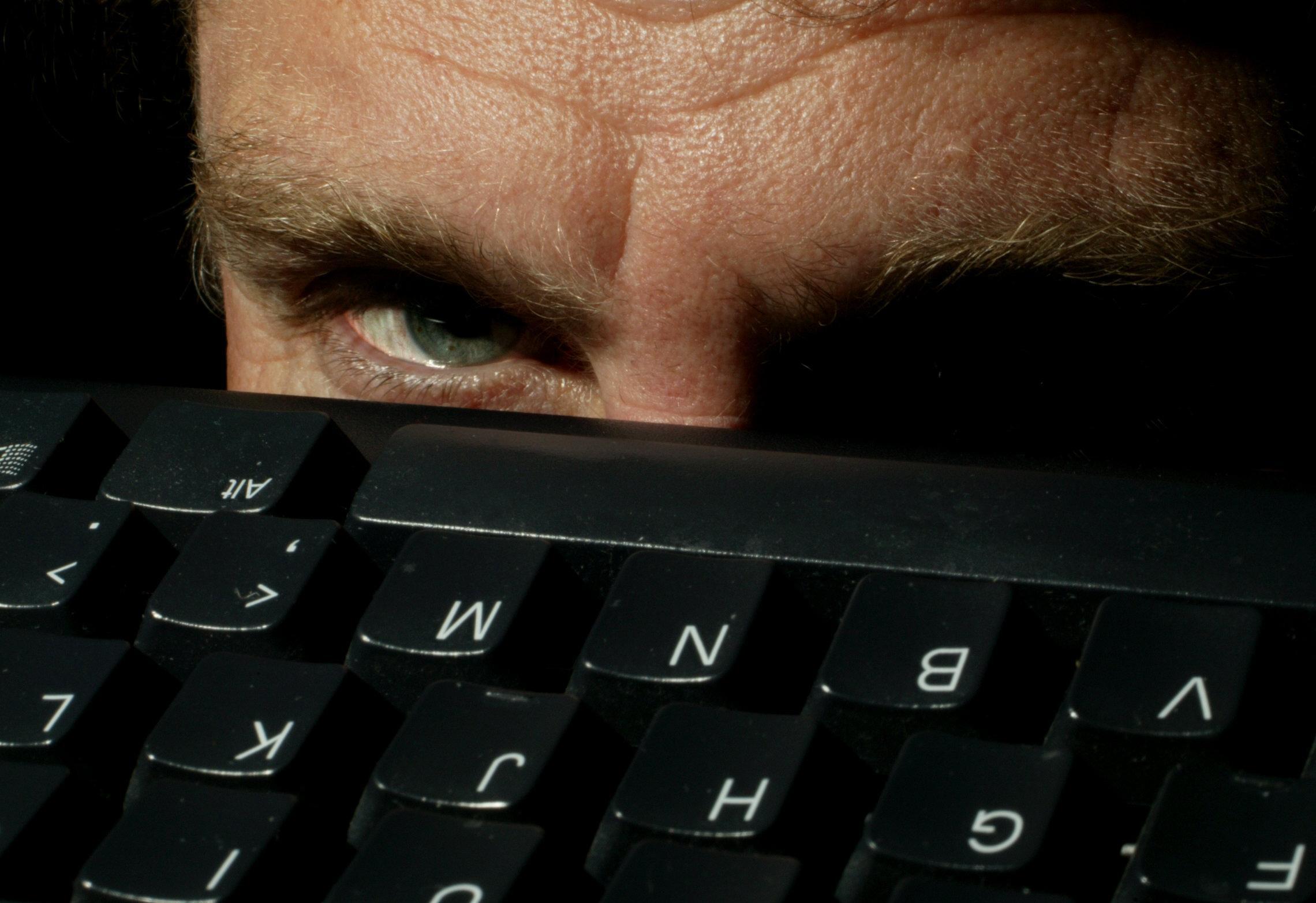 Eye overlooking a computer keyboard