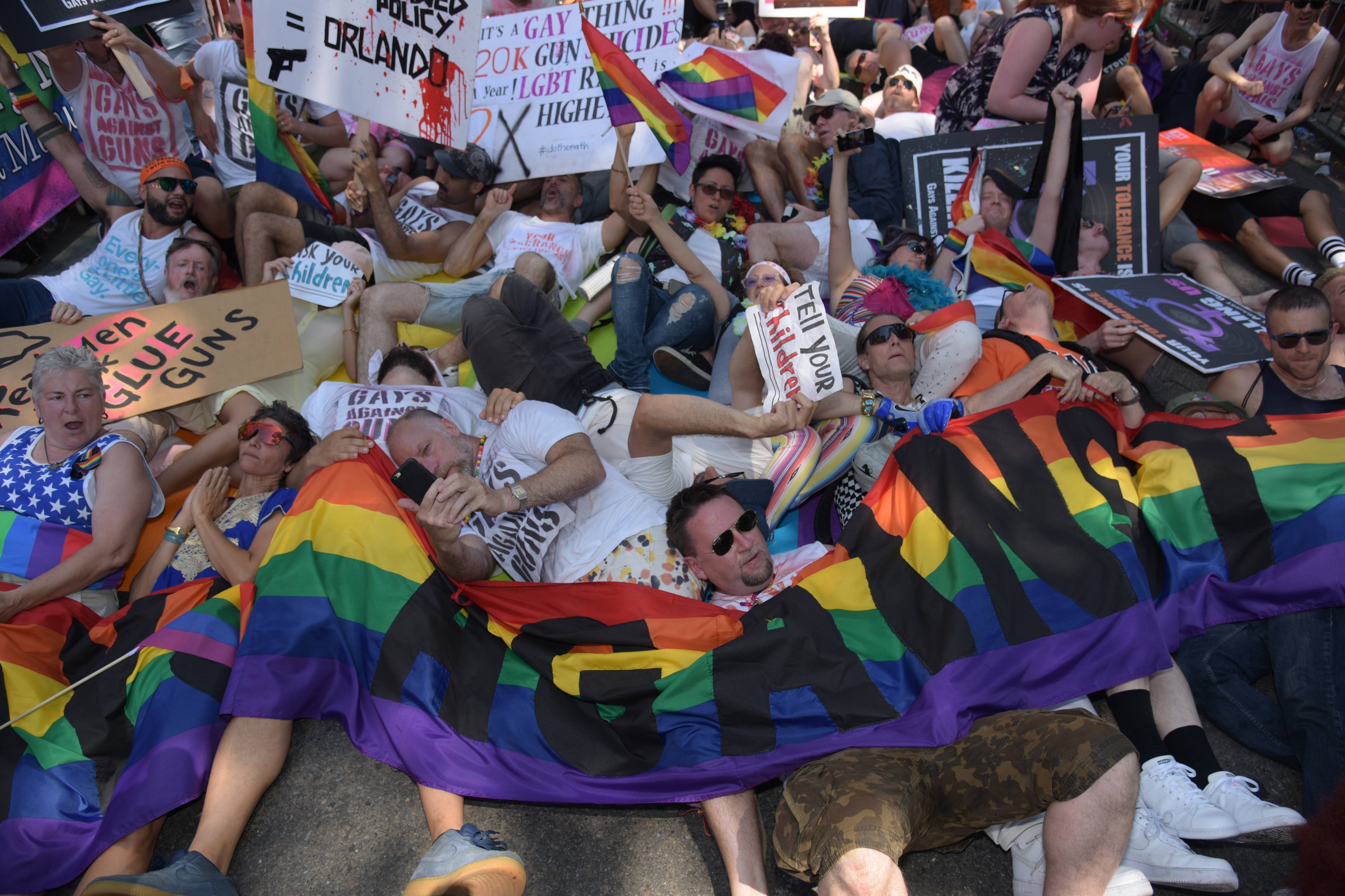 Gays against Guns stages die in before Stonewall Inn. The