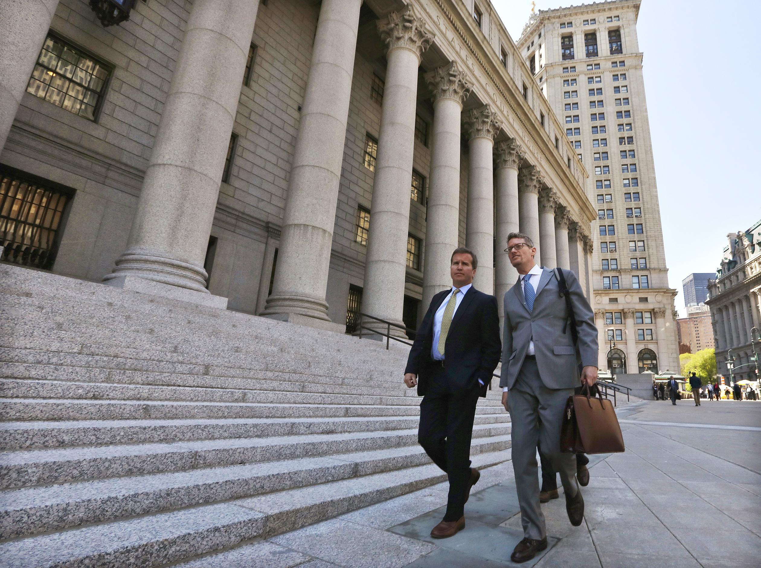 Todd Newman, Diamondback Capital Management portfolio manager, exits the United States Court in Manhattan