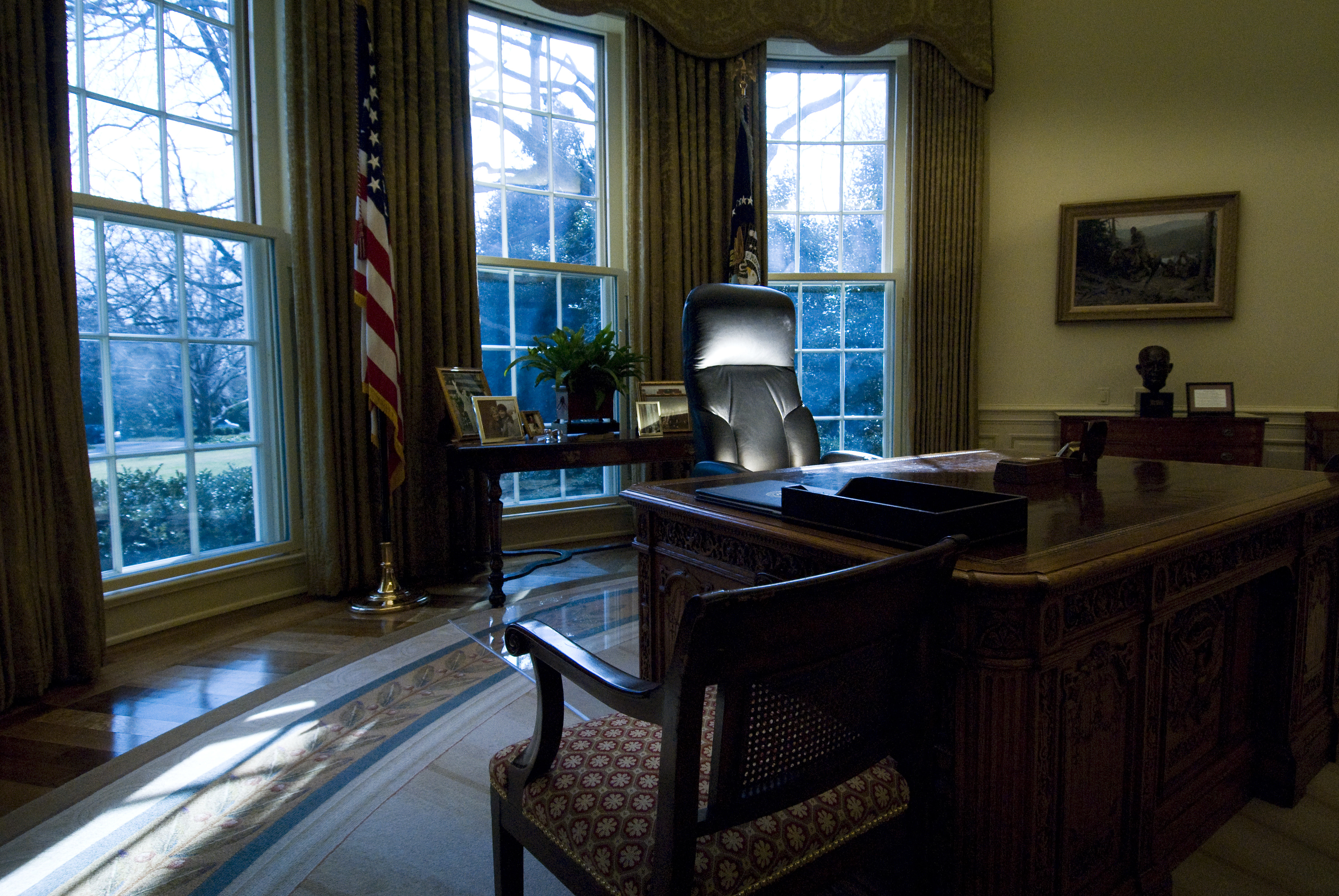 The president's desk, named Resolute, sits in the Oval Office at the White House in Washington