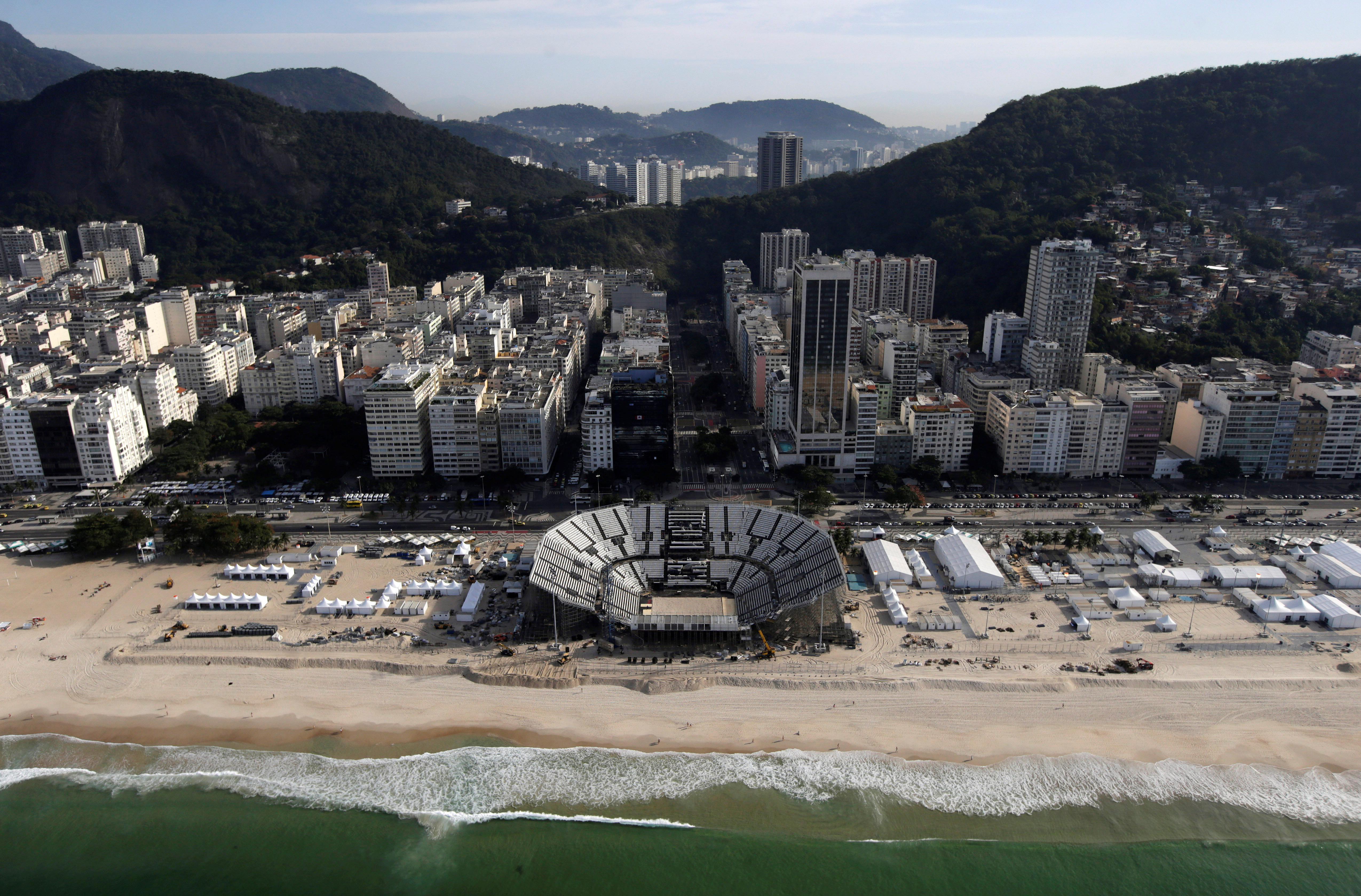 An aerial view of the 2016 Rio Olympics beach volleyball venue on Copacabana beach in Rio de Janeiro