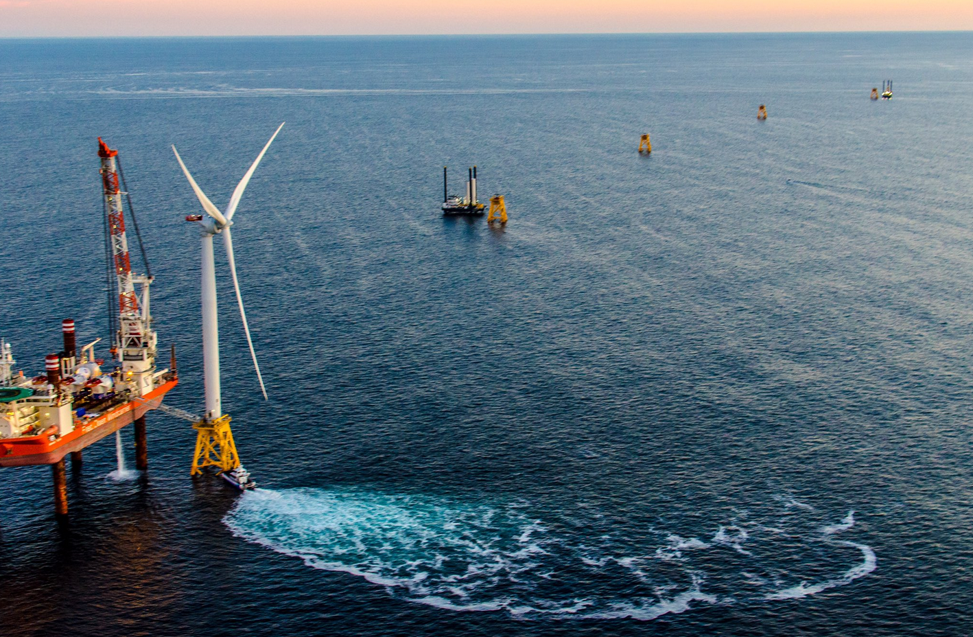 The first offshore wind turbine in the U.S., off the coast of Rhode Island.