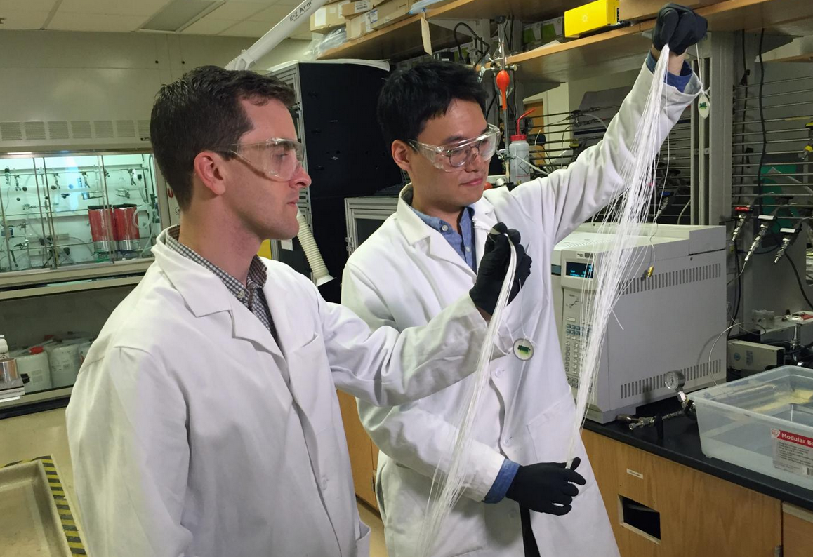 Georgia Tech Assistant Professor Ryan Lively (left) and Postdoctoral Fellow Dong-Yeun Koh hold bundles of hollow polymer fibers that serve as precursors for the carbon membrane fiber used to separate alkyl aromatic chemicals.