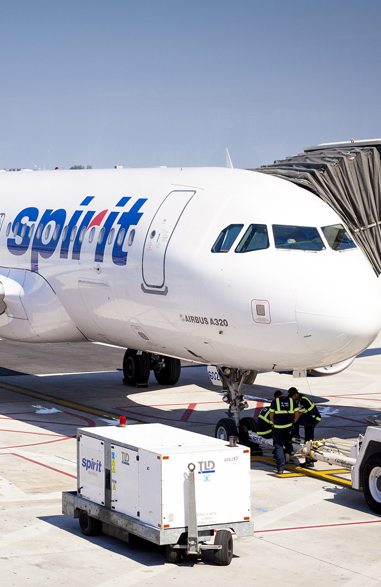Spirit Airline plane on the tarmac at Fort Lauderdale-Hollywood International Airport in Florida.