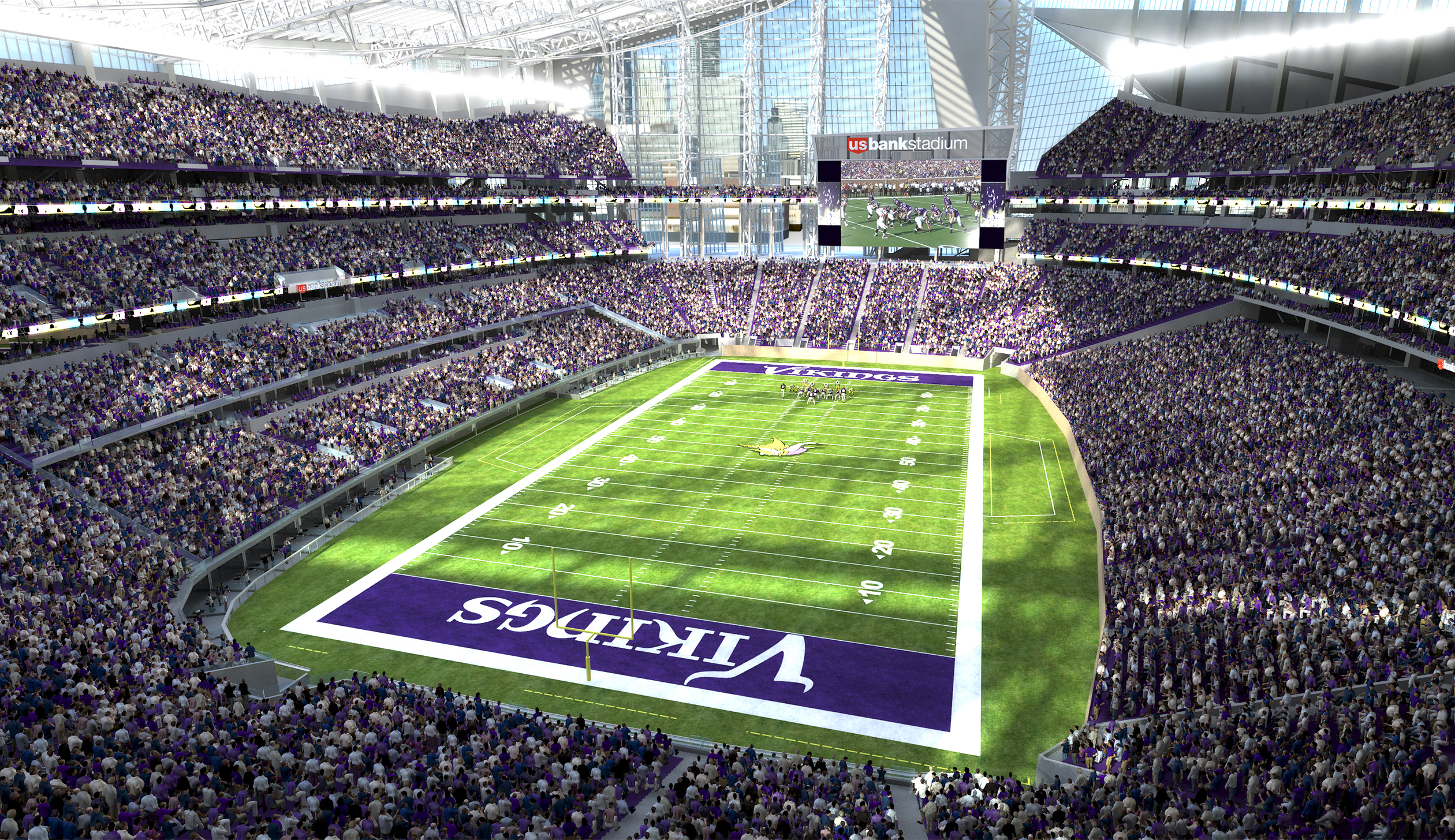 An inside look at the new Minnesota Viking's stadium. The Vikings play their first football game Sunday at U.S. Bank Stadium, their new 1.75 million square-foot home.