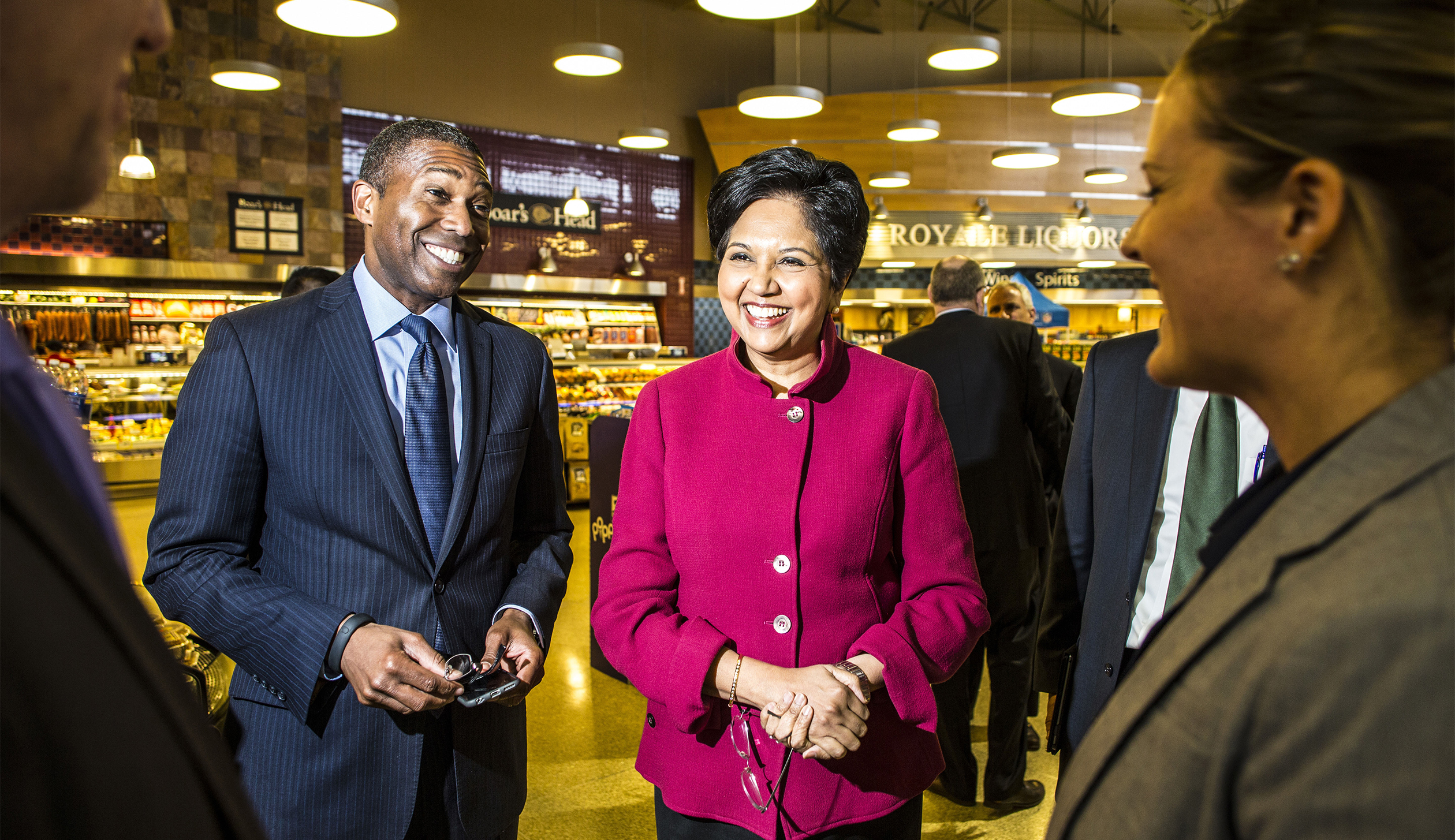Pepsico CEO Indra Nooyi inspects Pete's Fresh Market in Chicago, April 2015